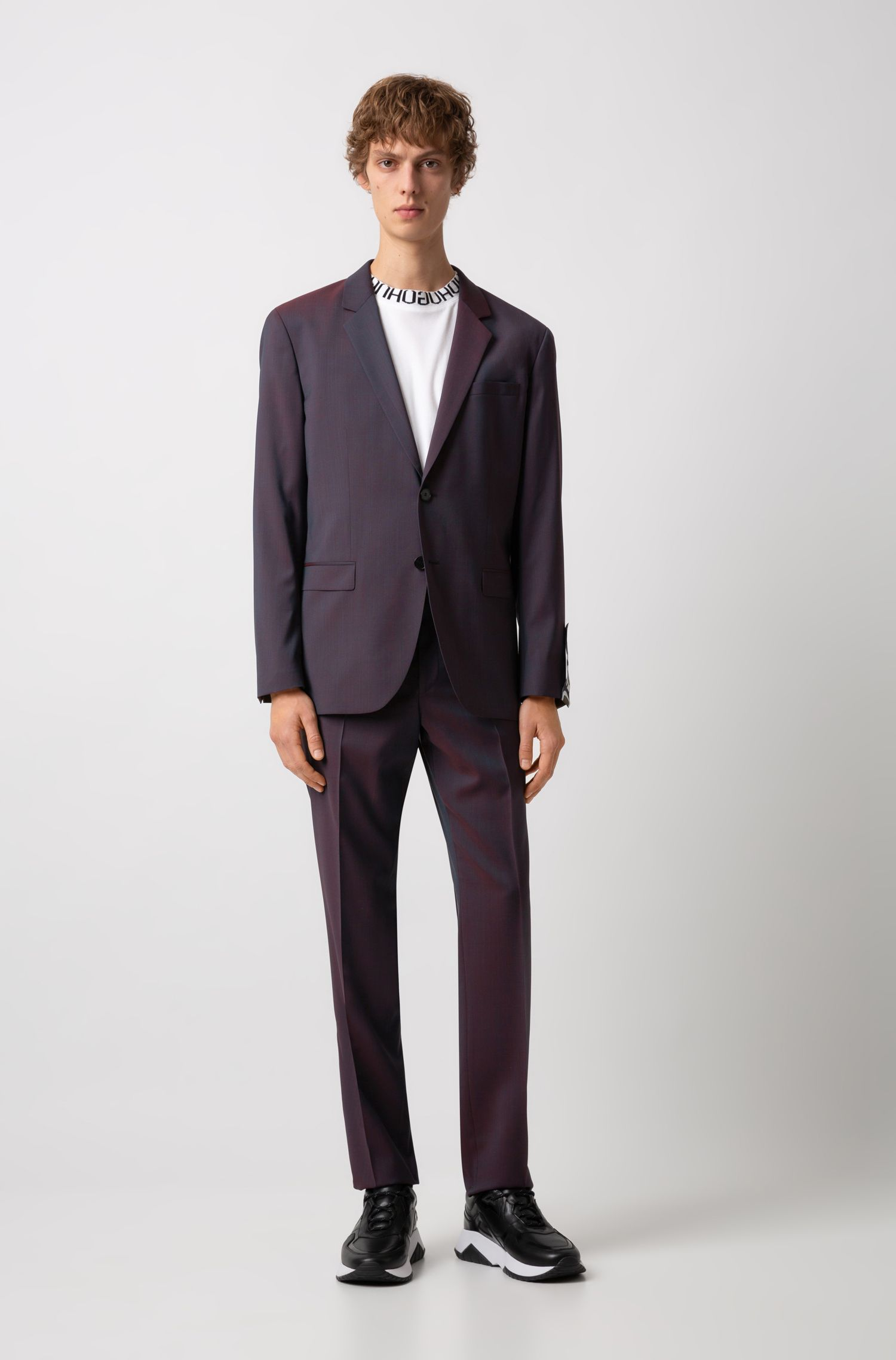 Regular-fit suit in virgin wool with logo-tape cuff, Patterned