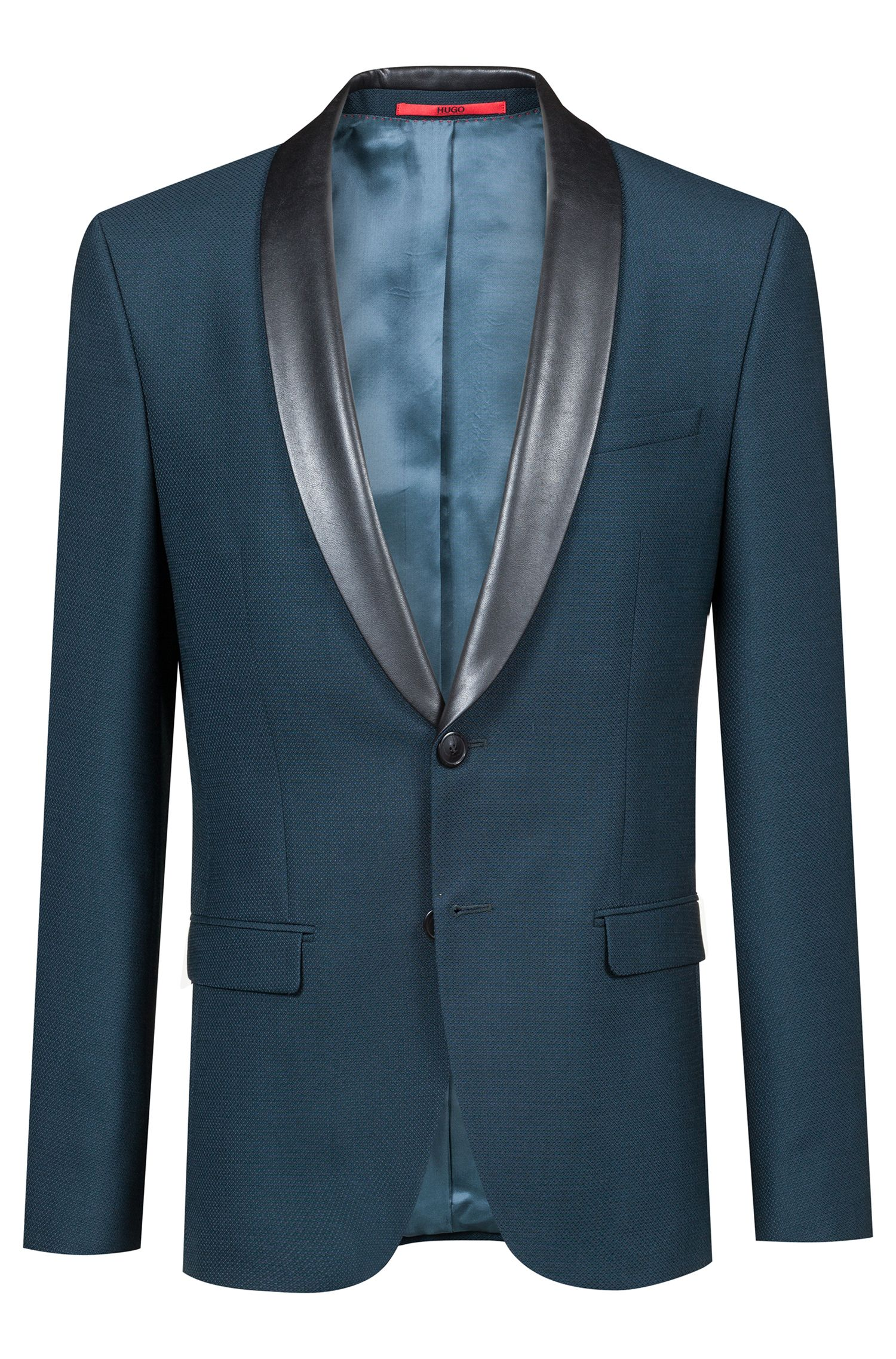 Extra-slim-fit jacket with faux-leather lapels, Dark Green