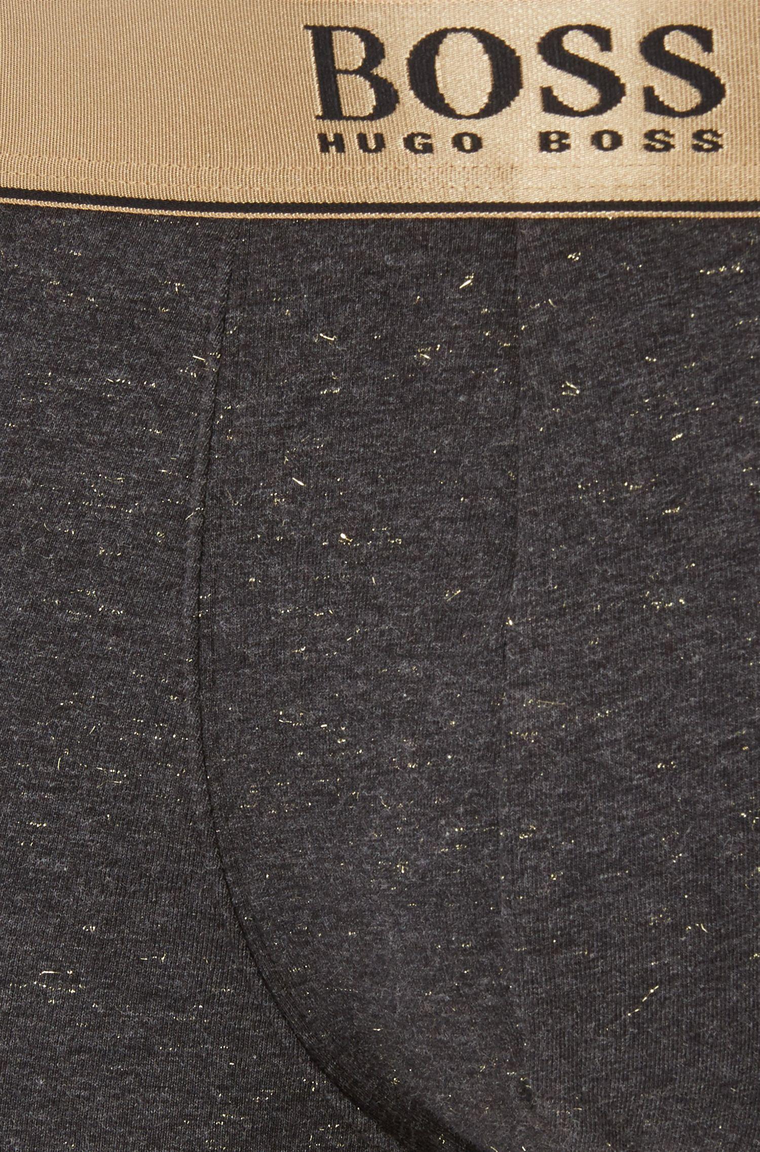 Metallic-waistband trunks in a cotton blend, Charcoal