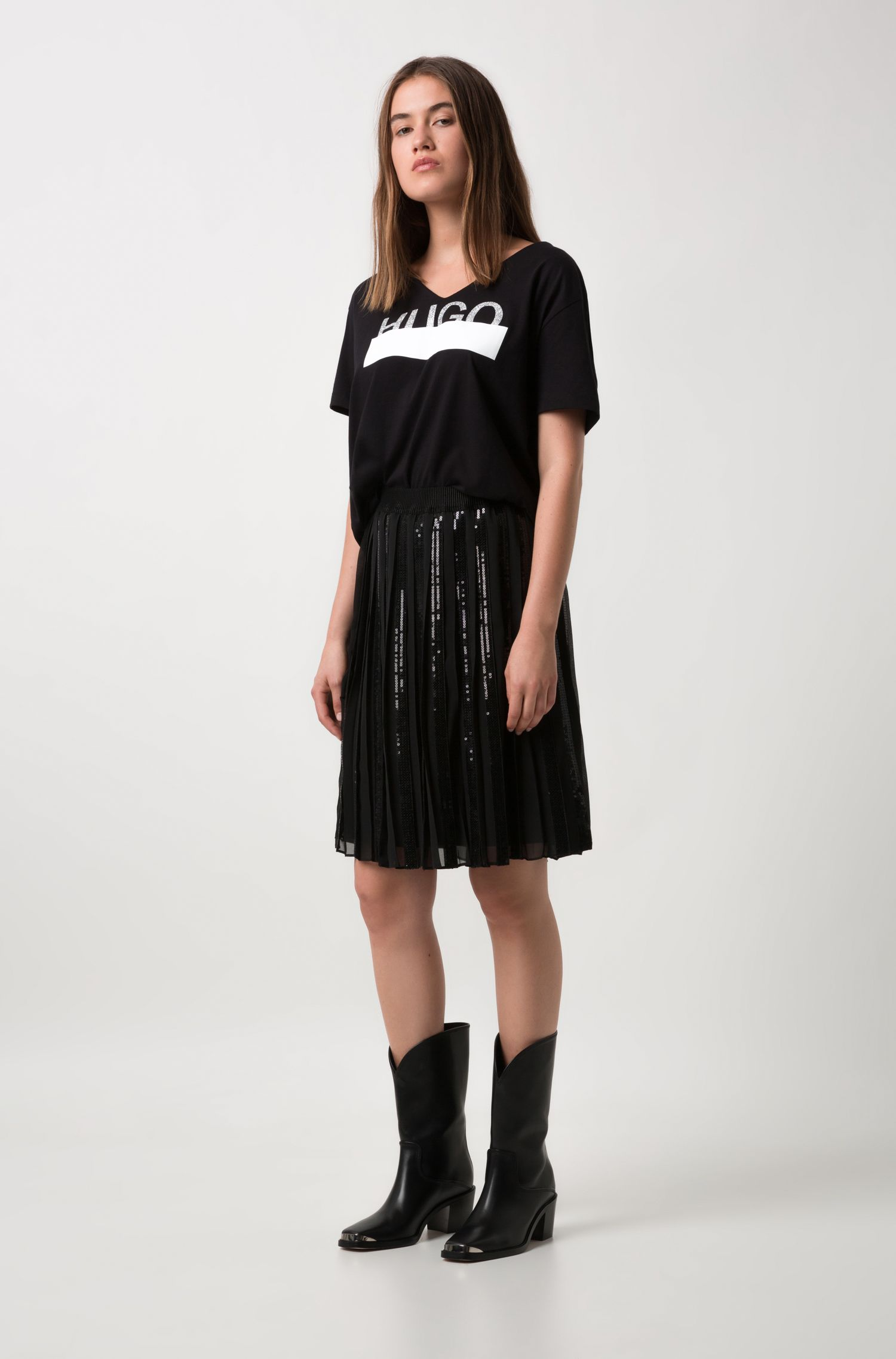 Relaxed-fit T-shirt in cotton with sparkly logo print , Black