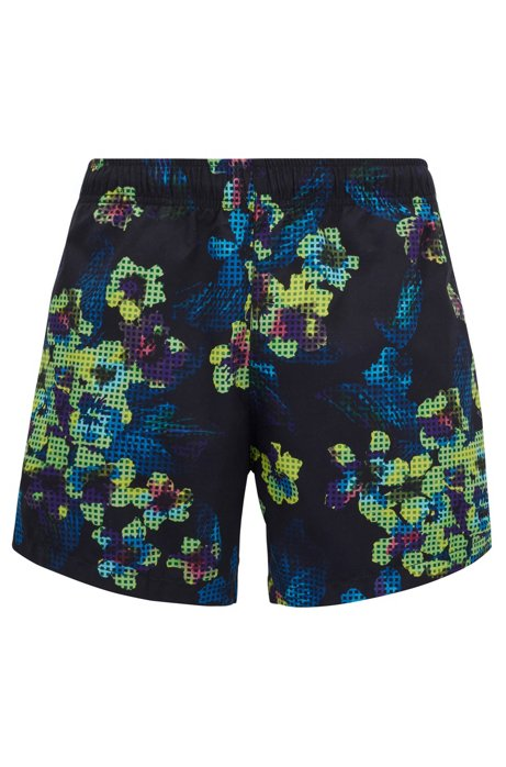 Short-length quick-dry swim shorts with modern floral print, Open Grey