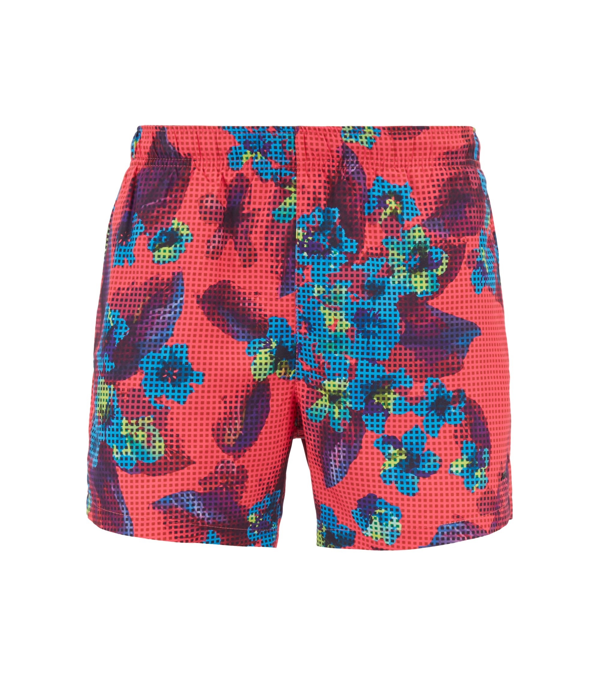 Short-length quick-dry swim shorts with modern floral print, Open Pink