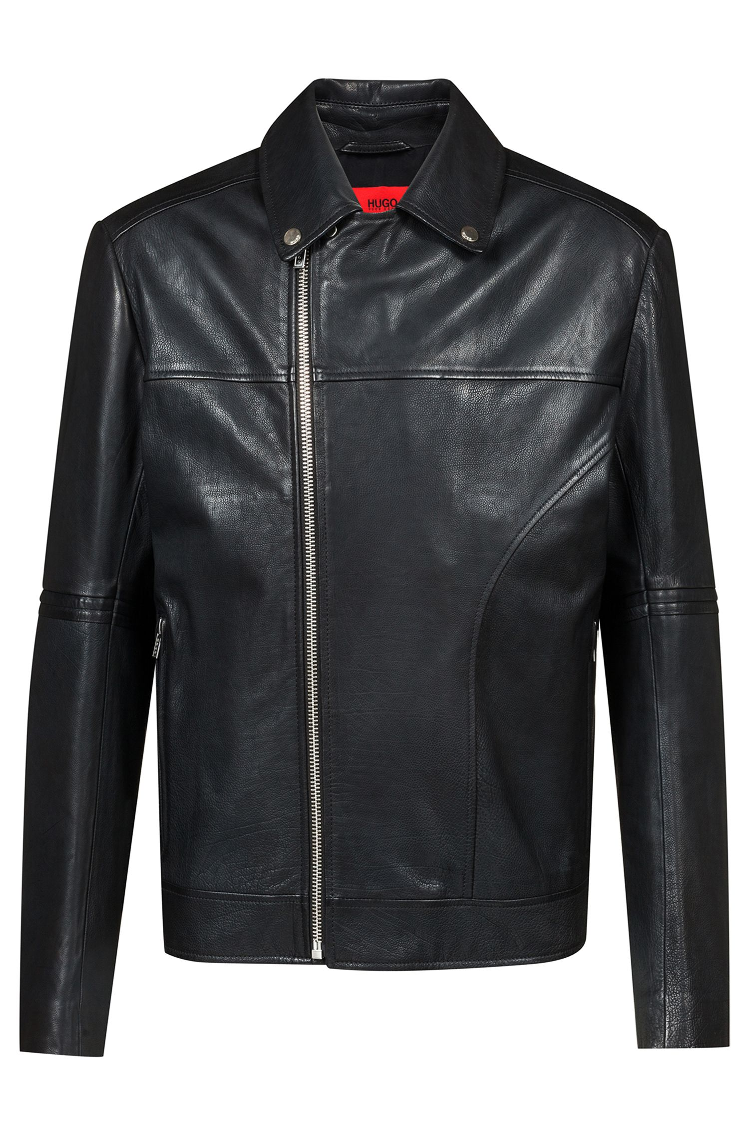 Slim-fit biker jacket in nappa calf leather, Black