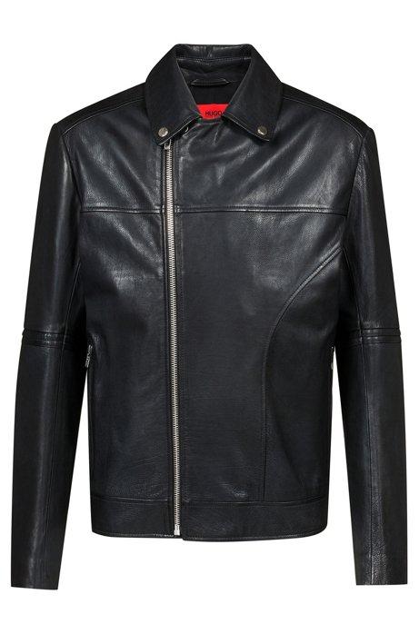 Slim-fit biker jacket in nappa calf leather, Black