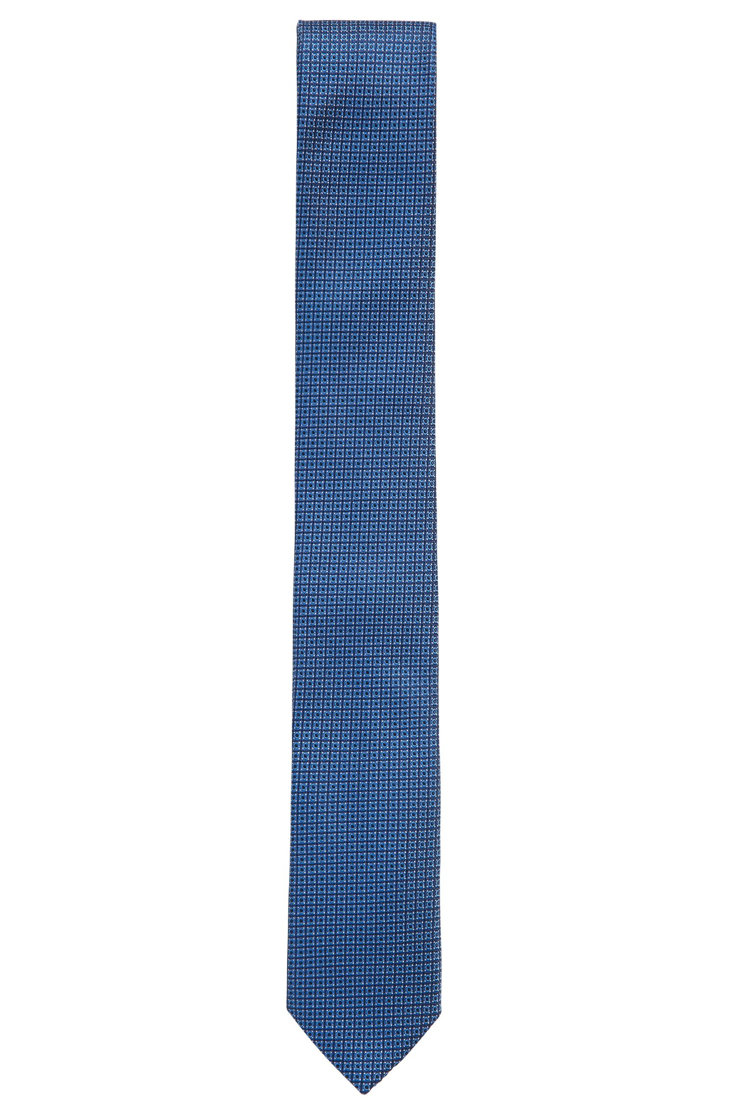 Silk tie in micro-patterned jacquard, Open Blue