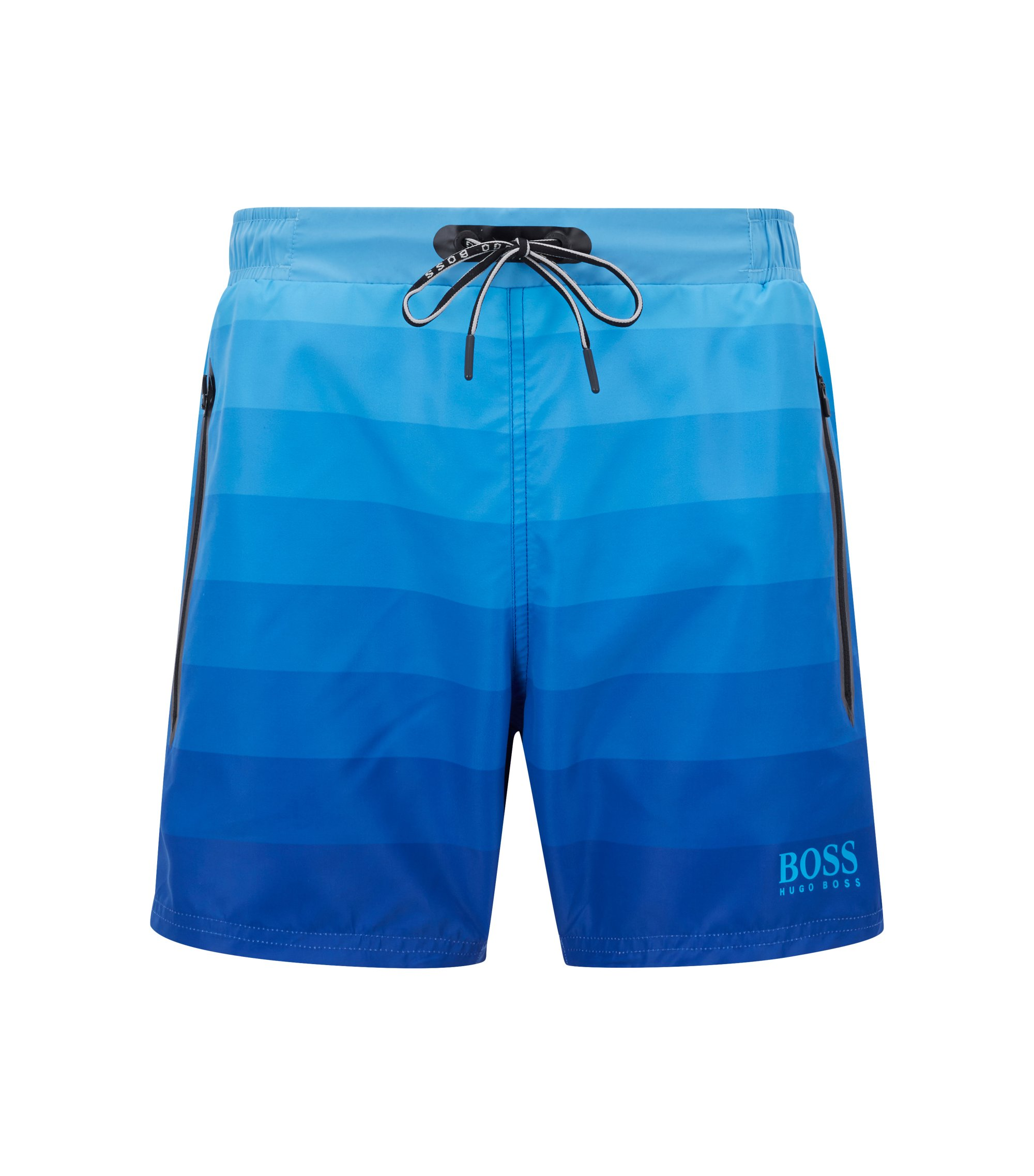 Quick-dry swim shorts with dégradé print and zippered pockets, Open Blue