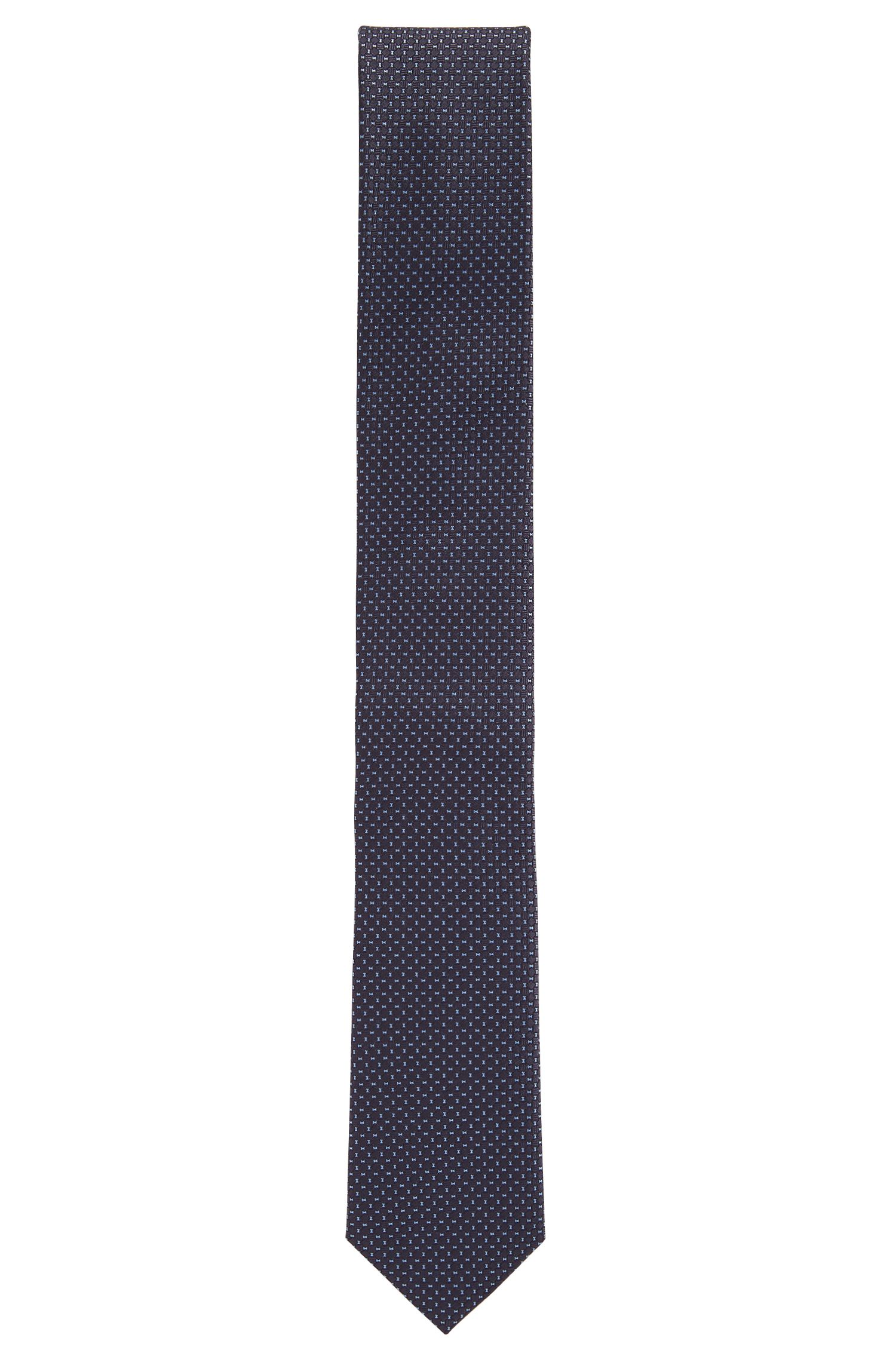 Micro-patterned silk tie made in Italy, Open Blue