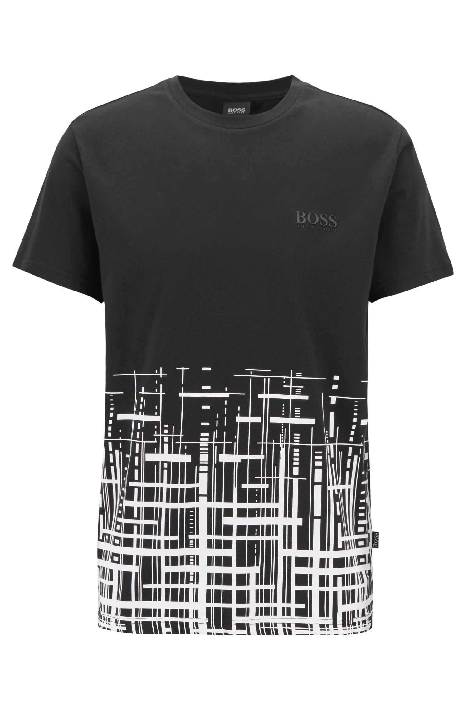 Slim-fit beach T-shirt in cotton with UPF +50, Black