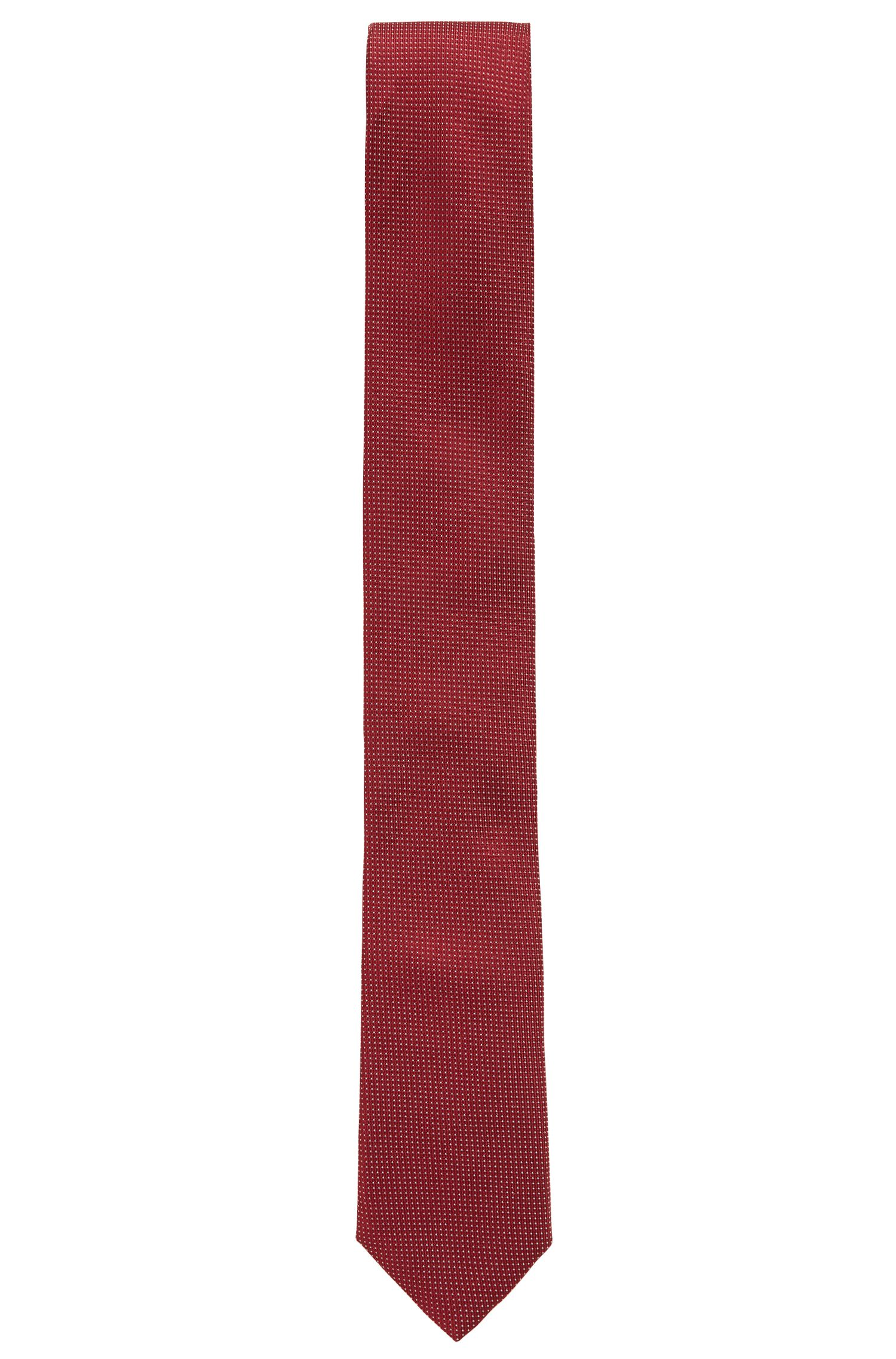 Italian-made silk tie with micro-dot jacquard, Dark Red