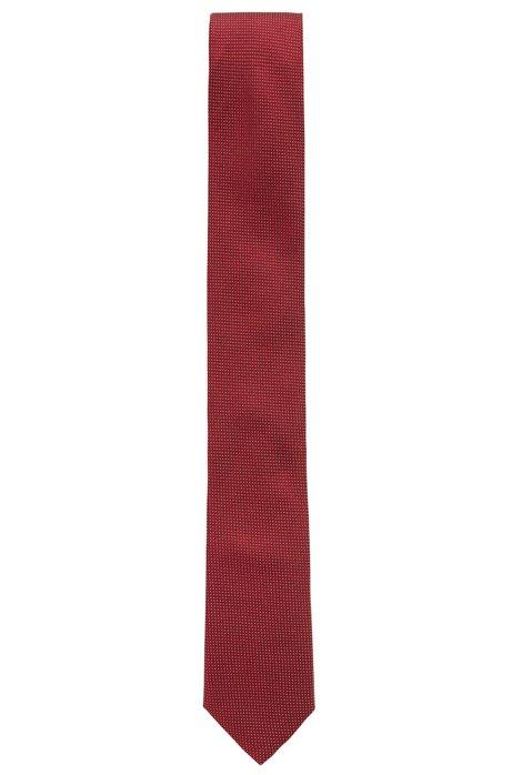 1264cfb7ba7d Italian-made silk tie with micro-dot jacquard, Dark Red