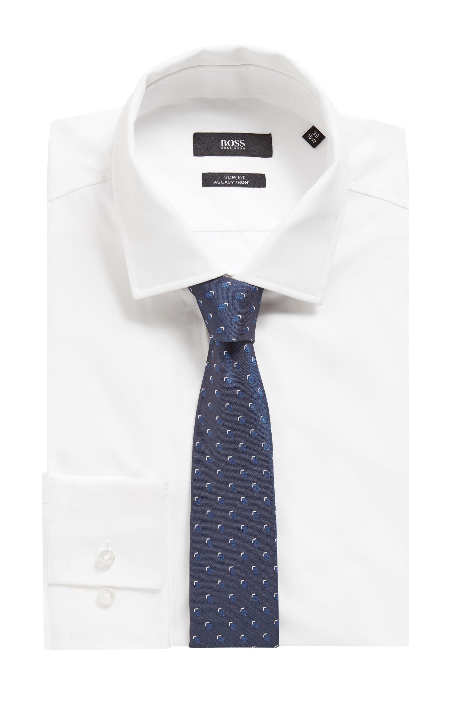 Italian-made tie in patterned silk jacquard, Open Blue