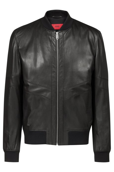 4ef86b5f8b77 HUGO - Regular-fit leather bomber jacket in nappa leather