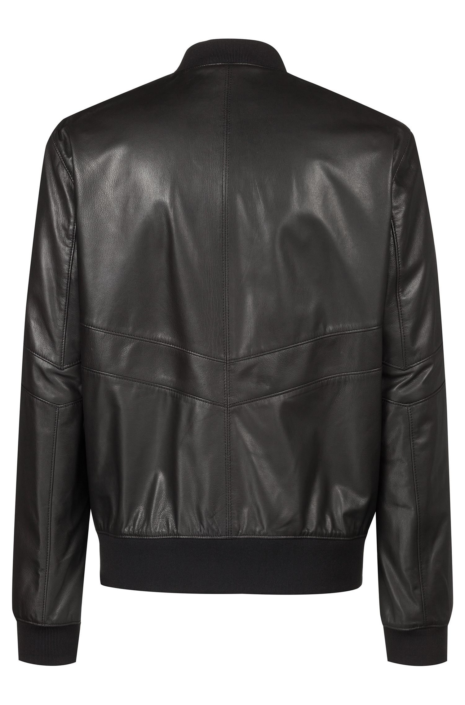 Regular-fit leather bomber jacket in nappa leather, Black