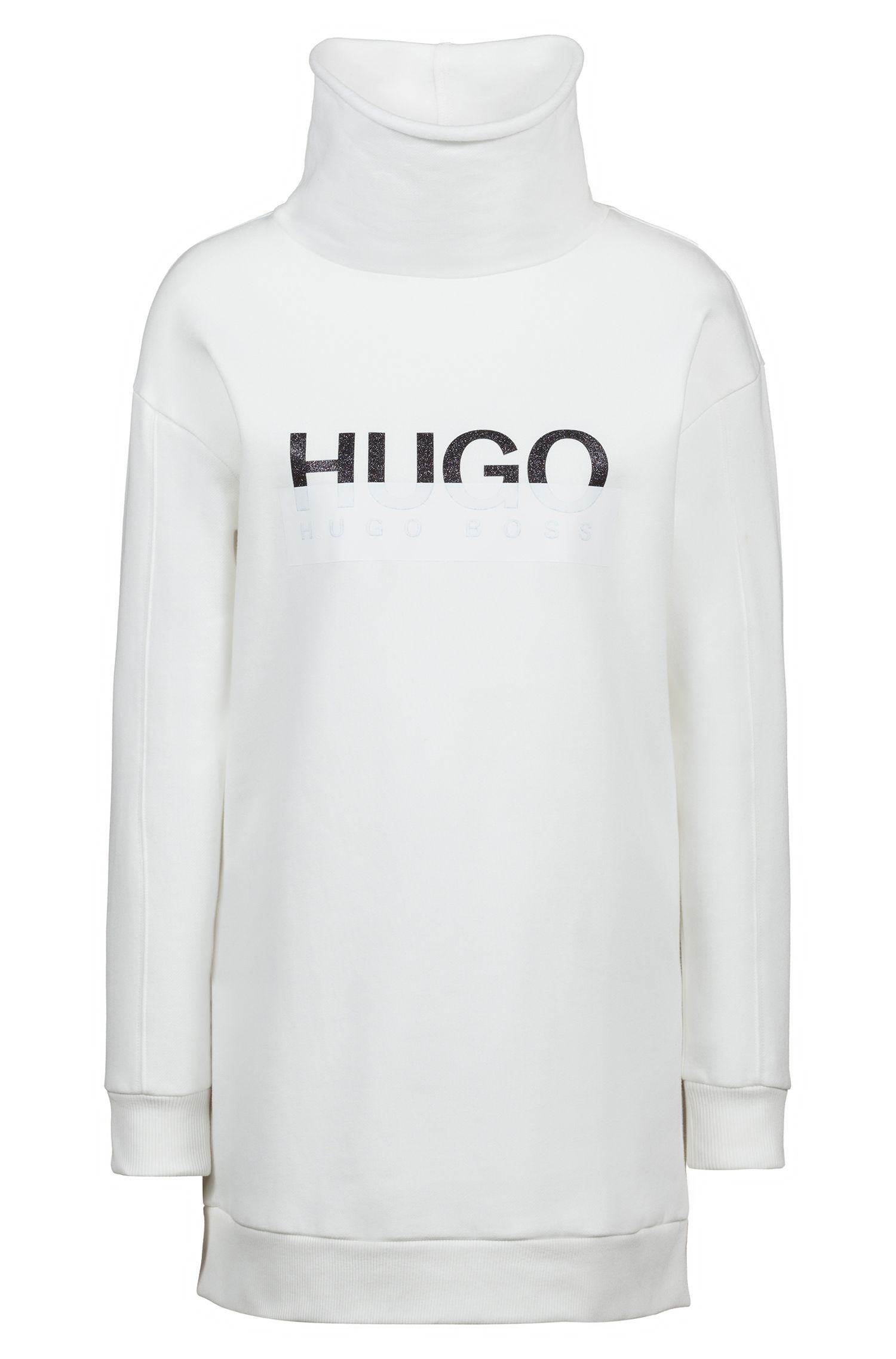 Oversized-fit sweatshirt in cotton with two-tone logo, Natural