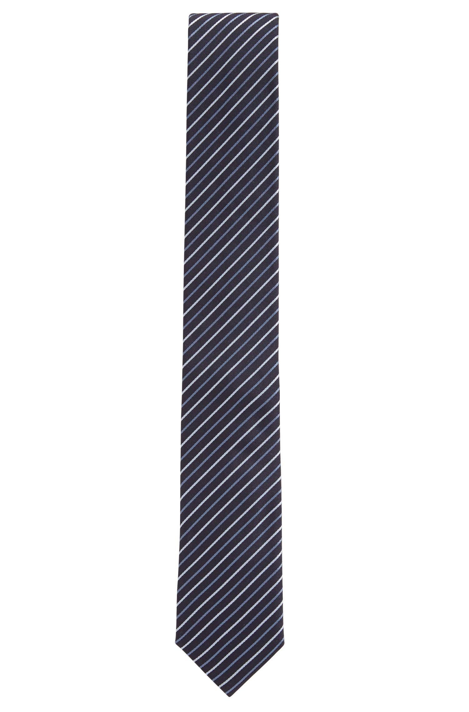 Diagonal striped tie in silk jacquard, Open Blue
