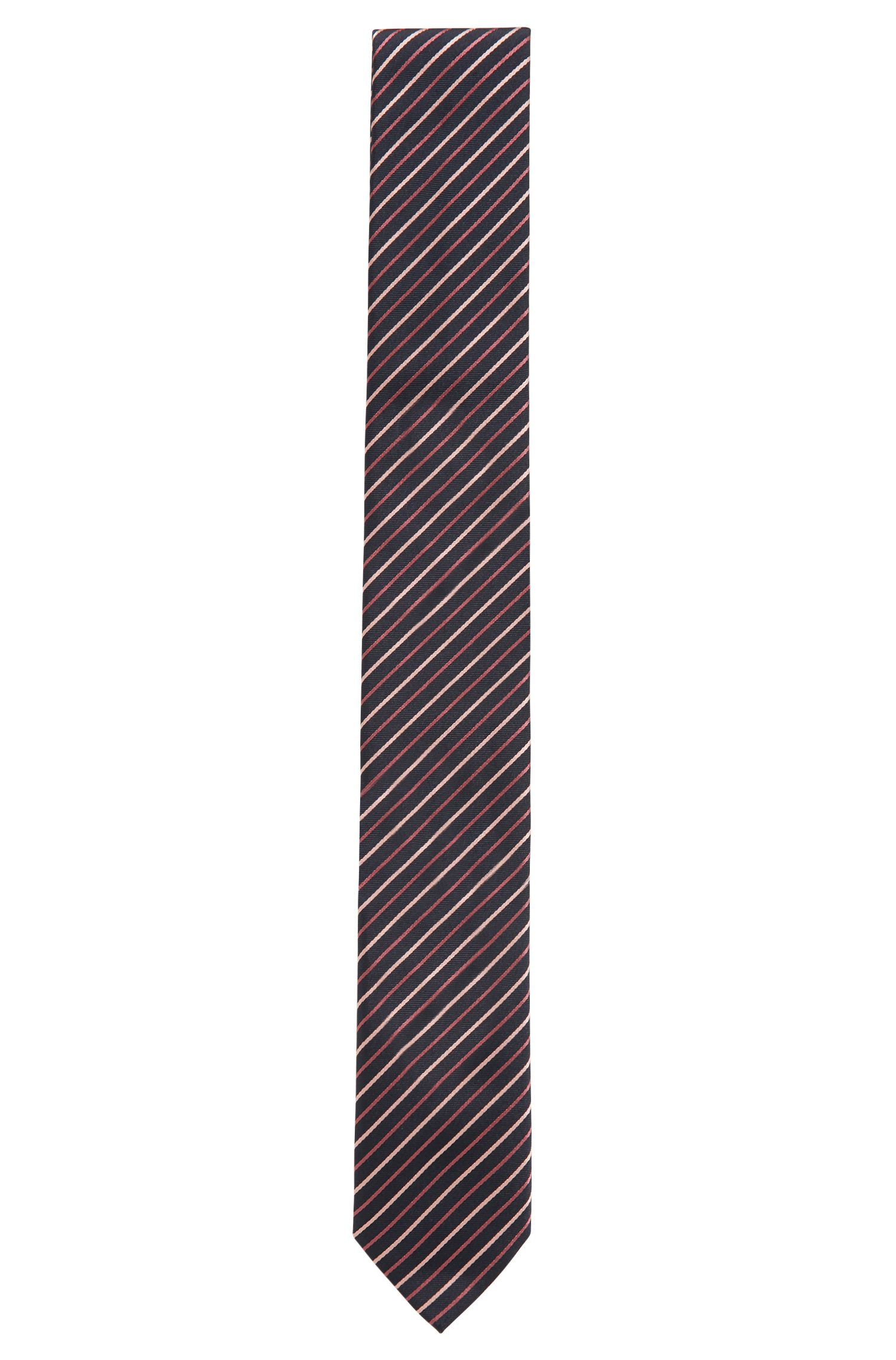 Diagonal striped tie in silk jacquard, Pink
