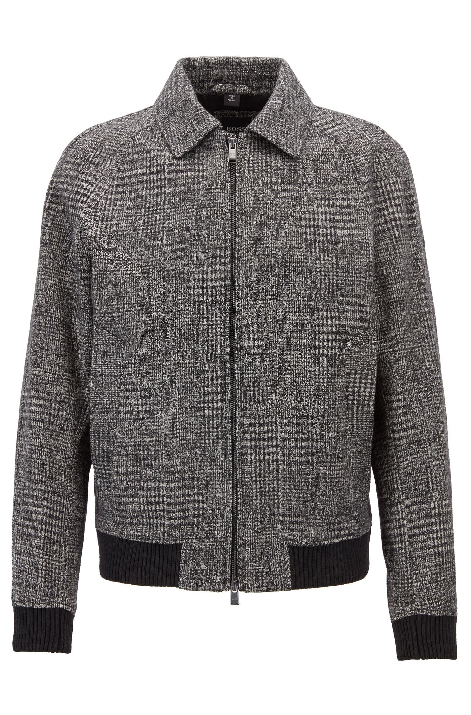 Relaxed-fit blouson jacket in patterned jersey, Open Grey