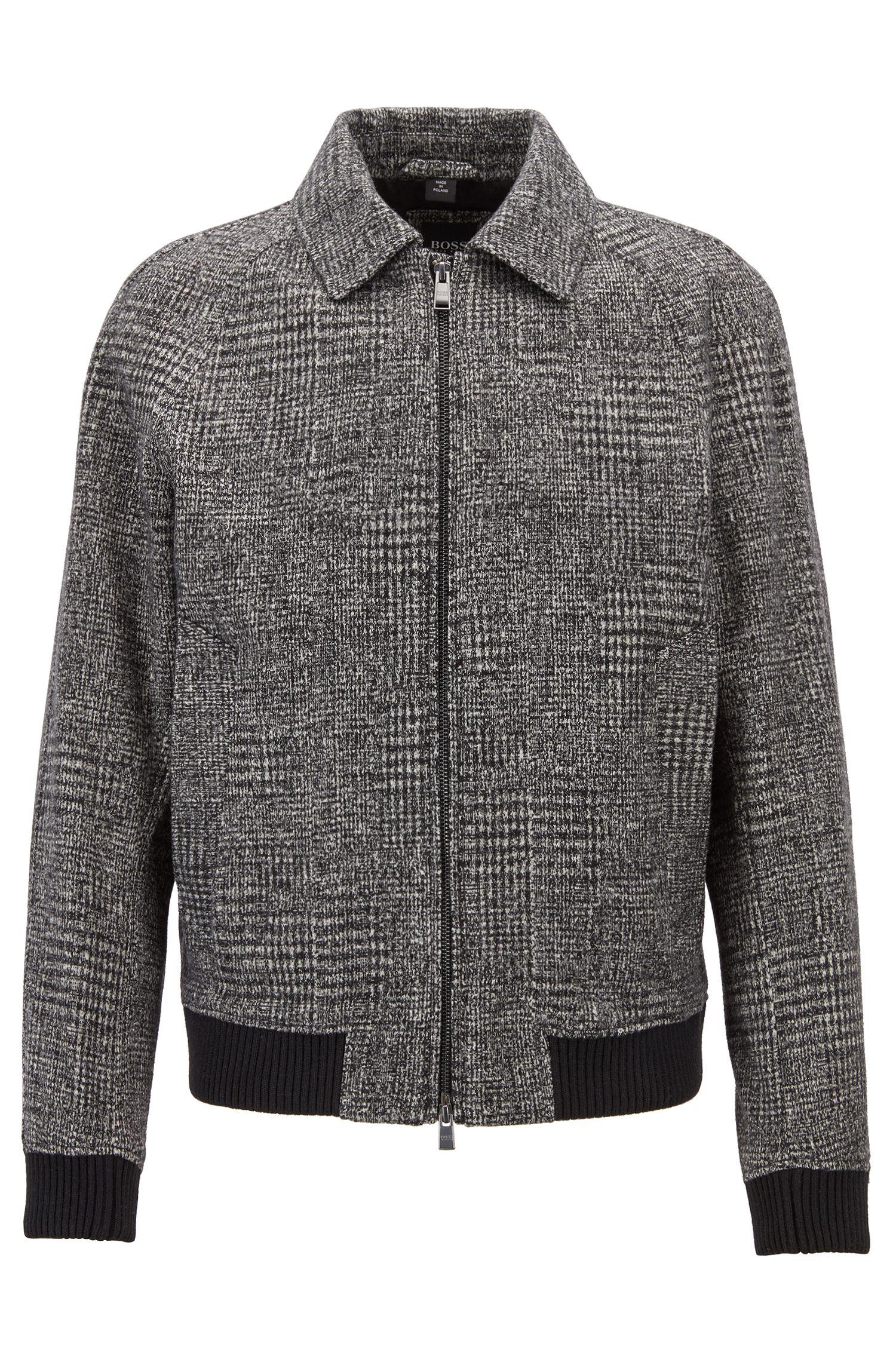 Relaxed-fit blouson jacket in patterned jersey, Open Grey