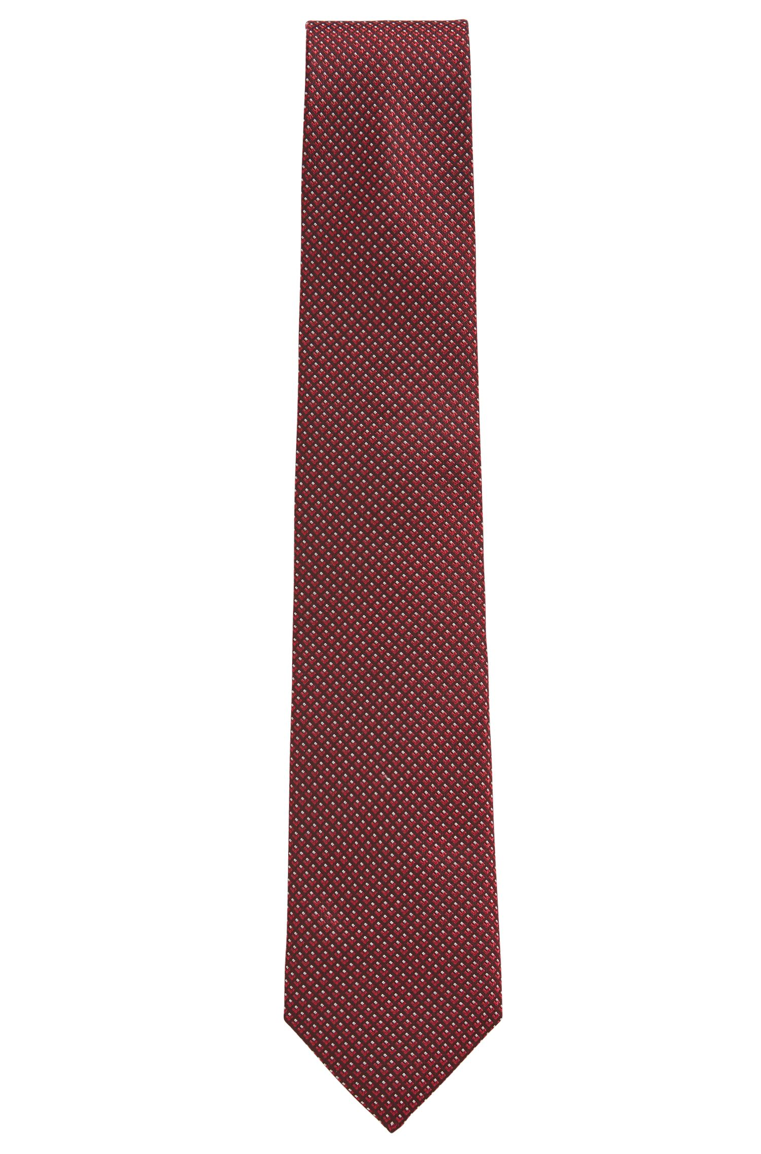 Italian-made patterned tie in silk jacquard, Dark pink