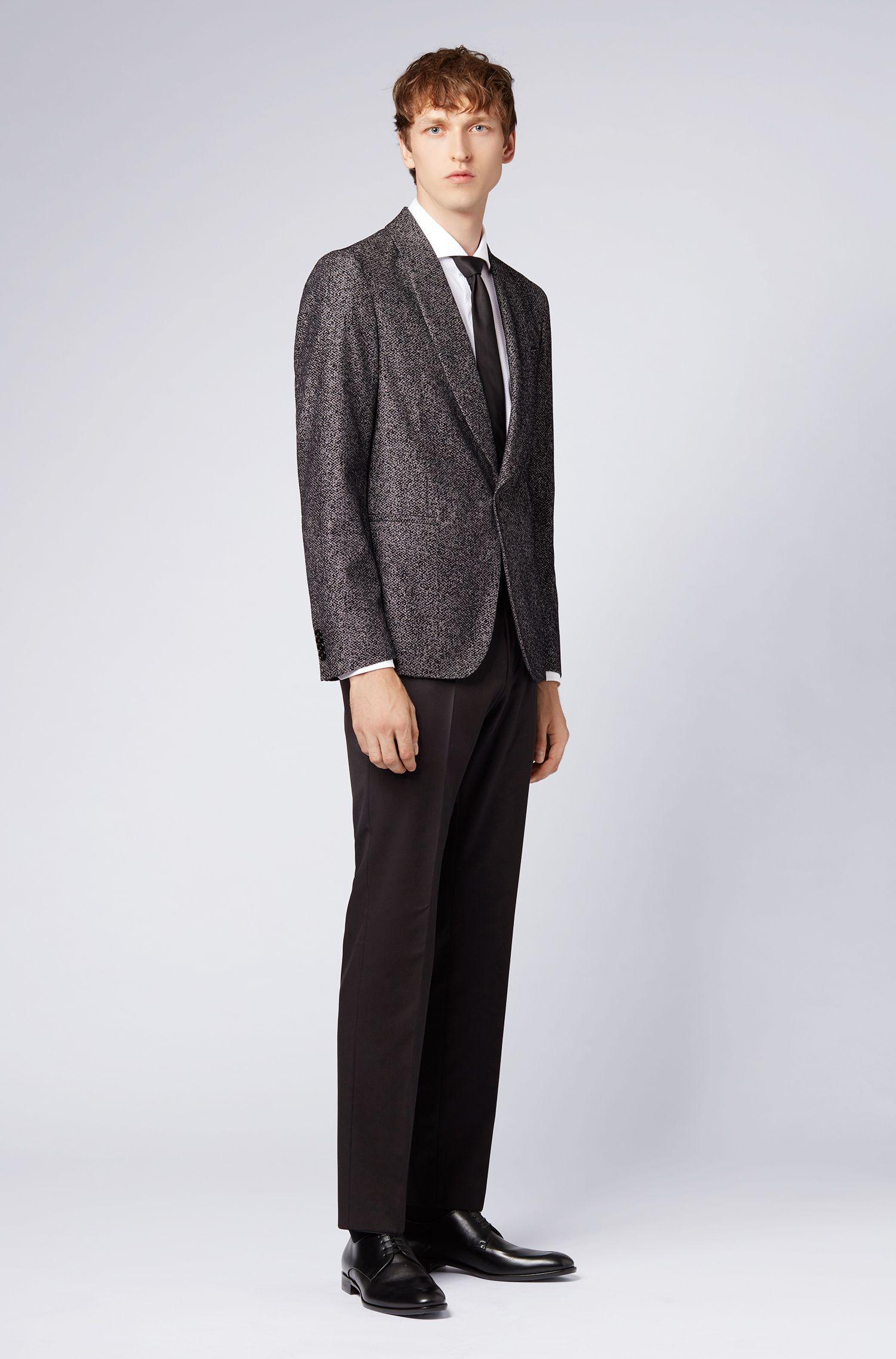 Slim-fit dinner jacket in patterned velvet, Open Grey