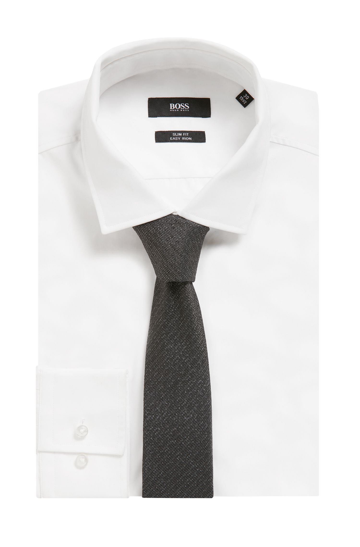 Silk-blend tie with textured surface, Black