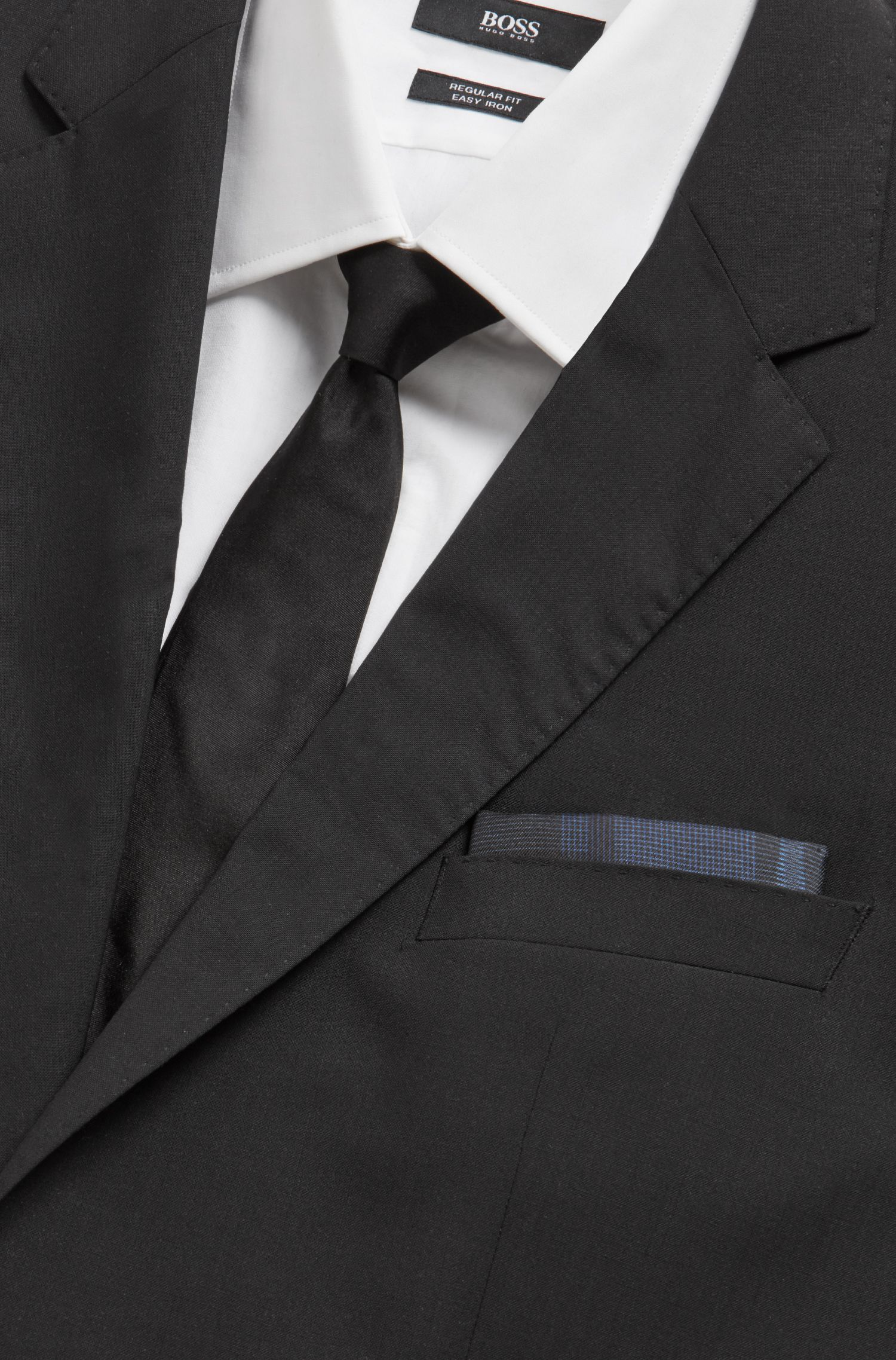Italian-made silk pocket square with digital print, Open Blue