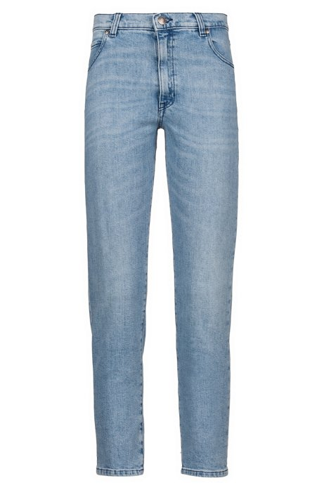 Slim-fit cropped jeans in Italian stretch denim, Blue