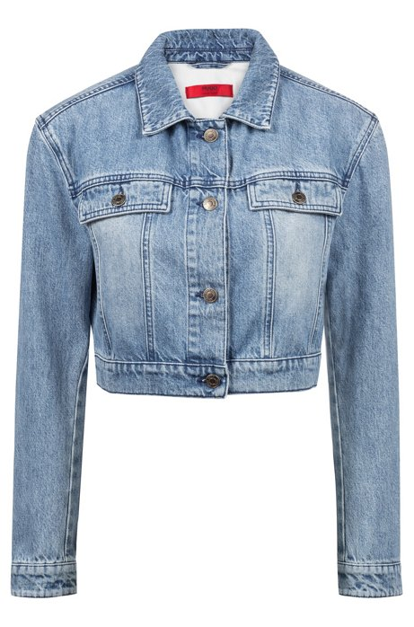 Cropped jacket in stonewashed denim, Blue
