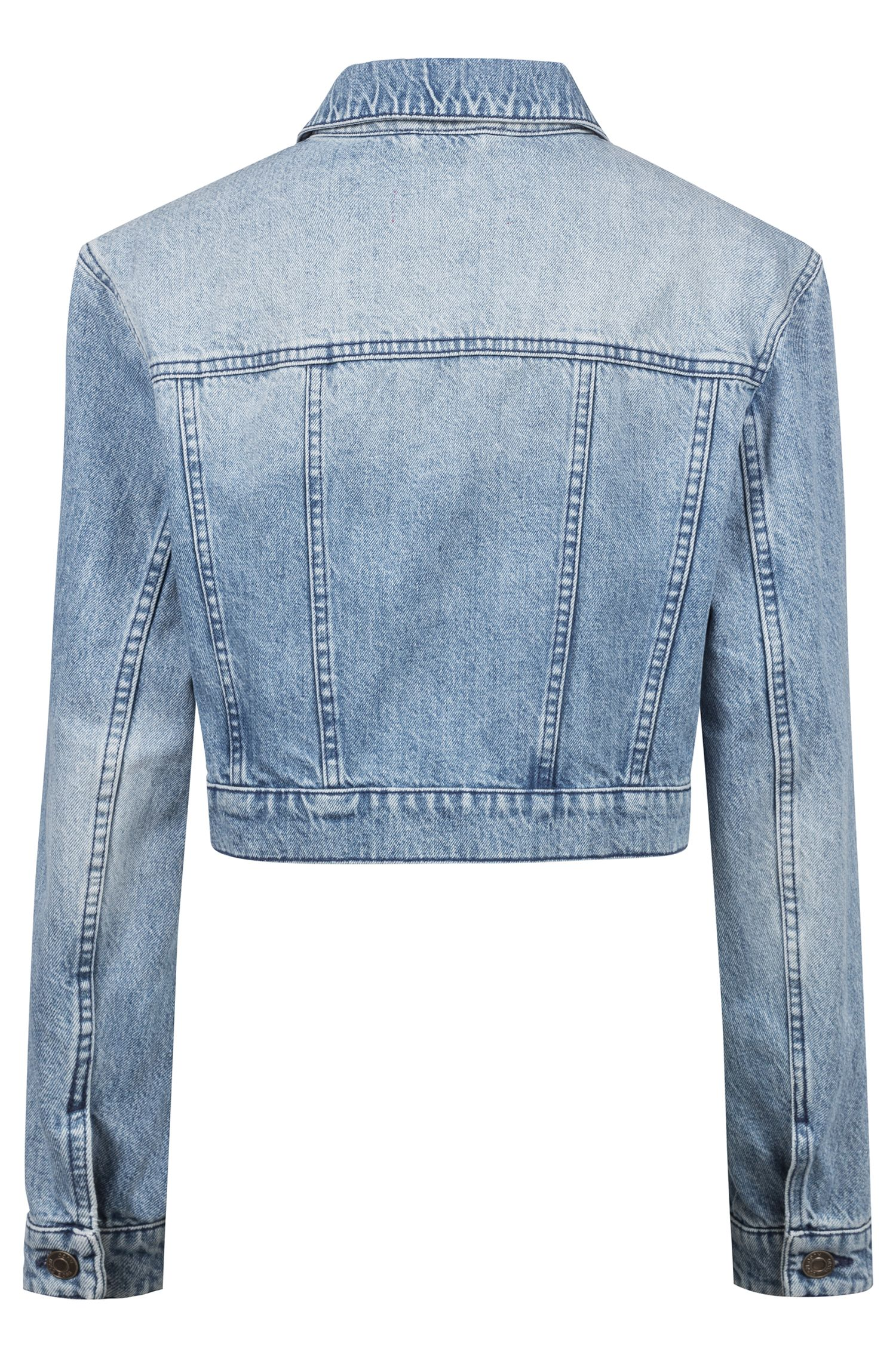 Cropped jacket in stonewashed denim, Blue