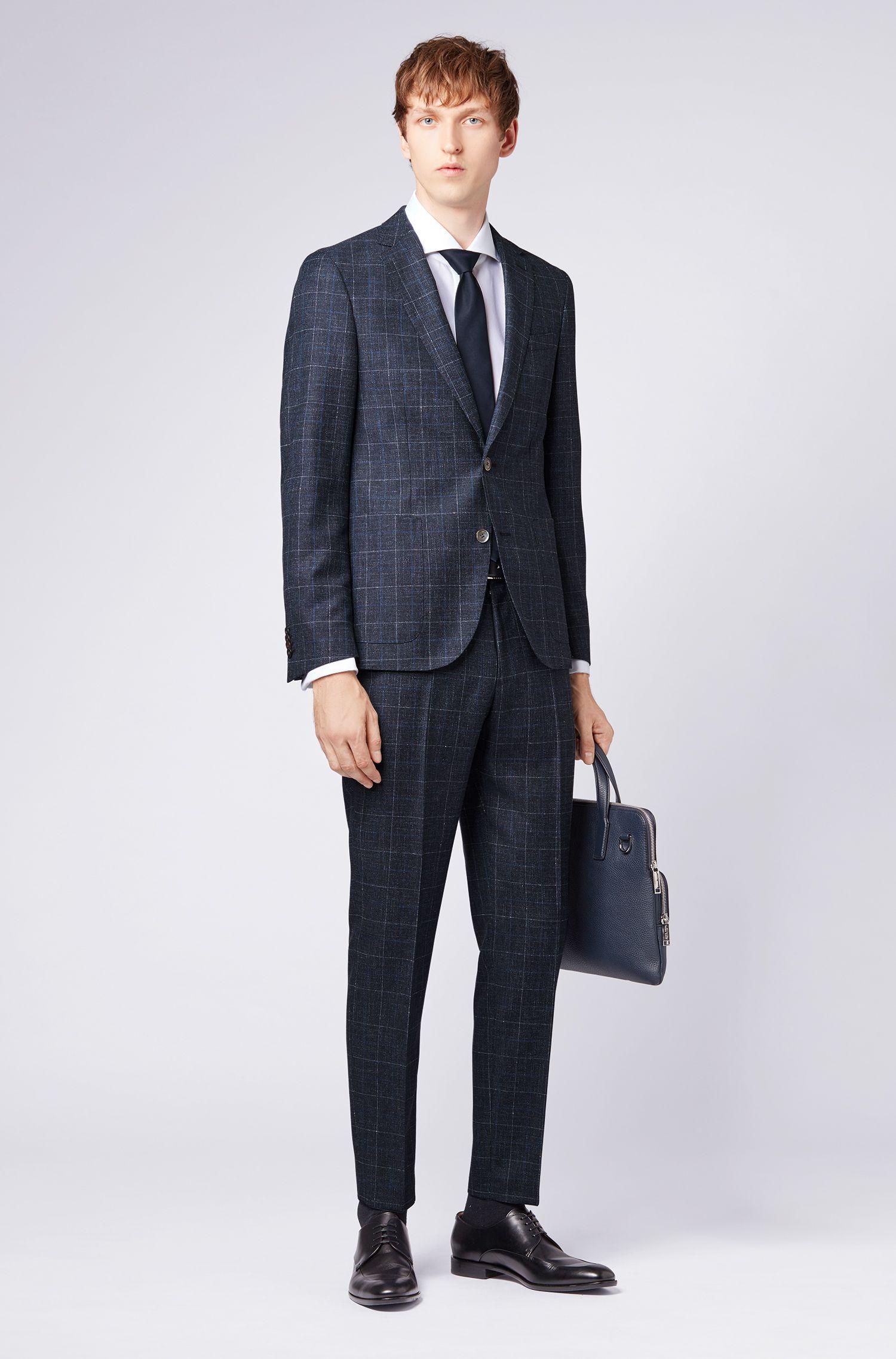 Slim-fit suit in a checked virgin-wool blend, Dark Blue