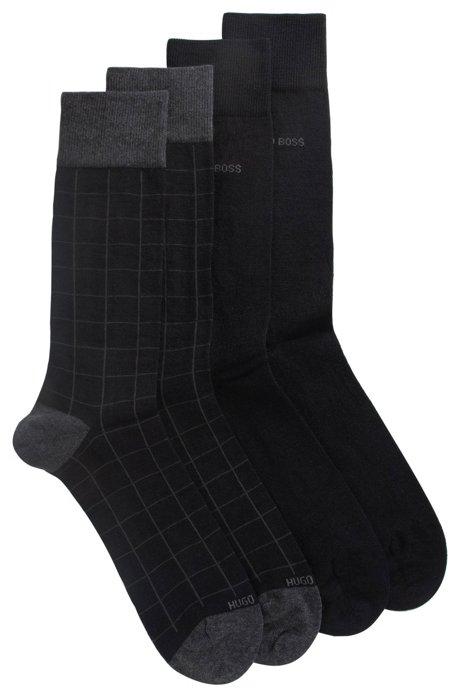 Two-pack of regular-length socks in a wool blend, Black