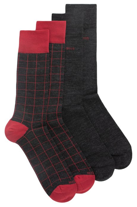 Two-pack of regular-length socks in a wool blend, Charcoal