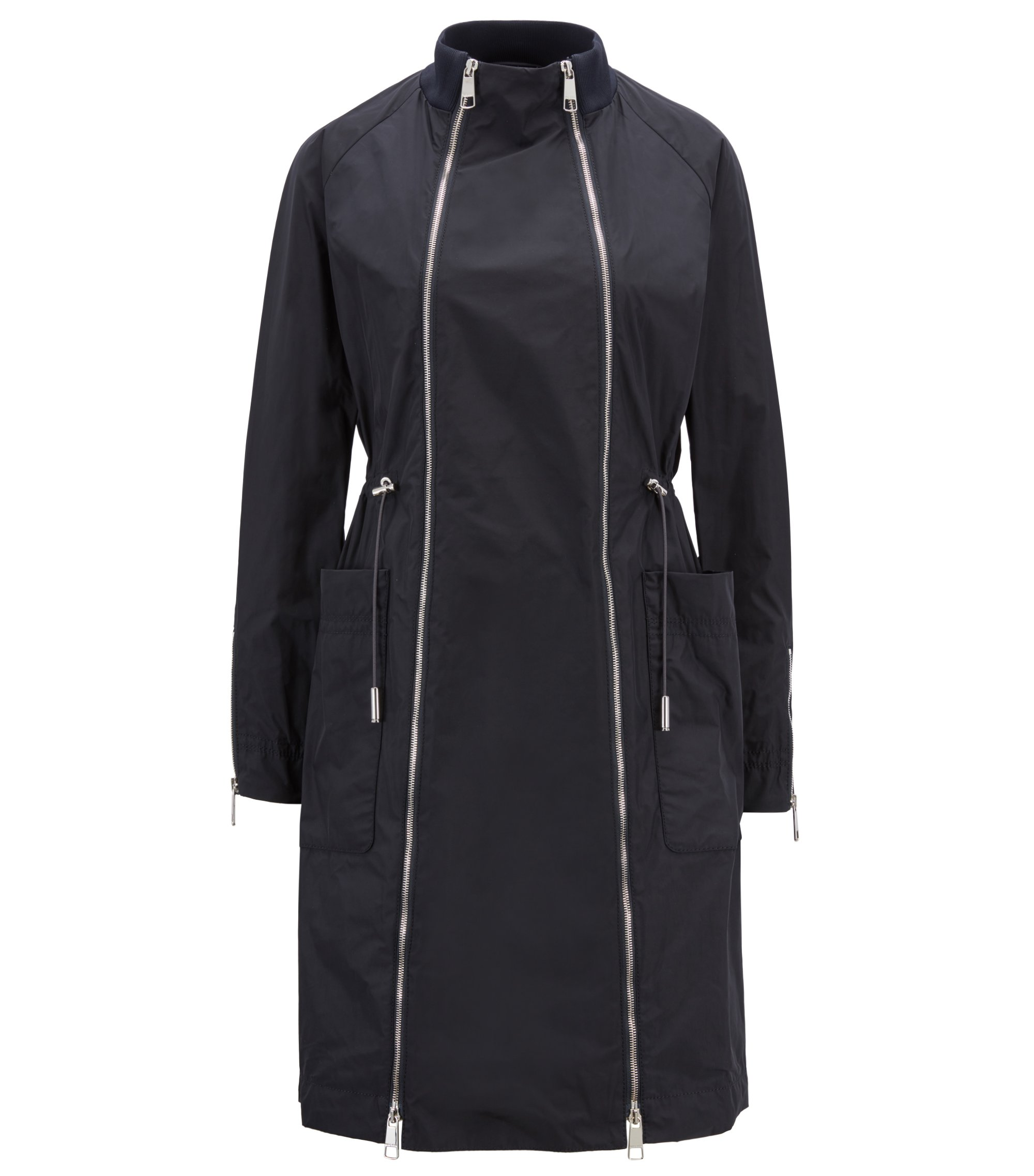 Italian-made coat with double zipper and drawstring waist, Open Blue