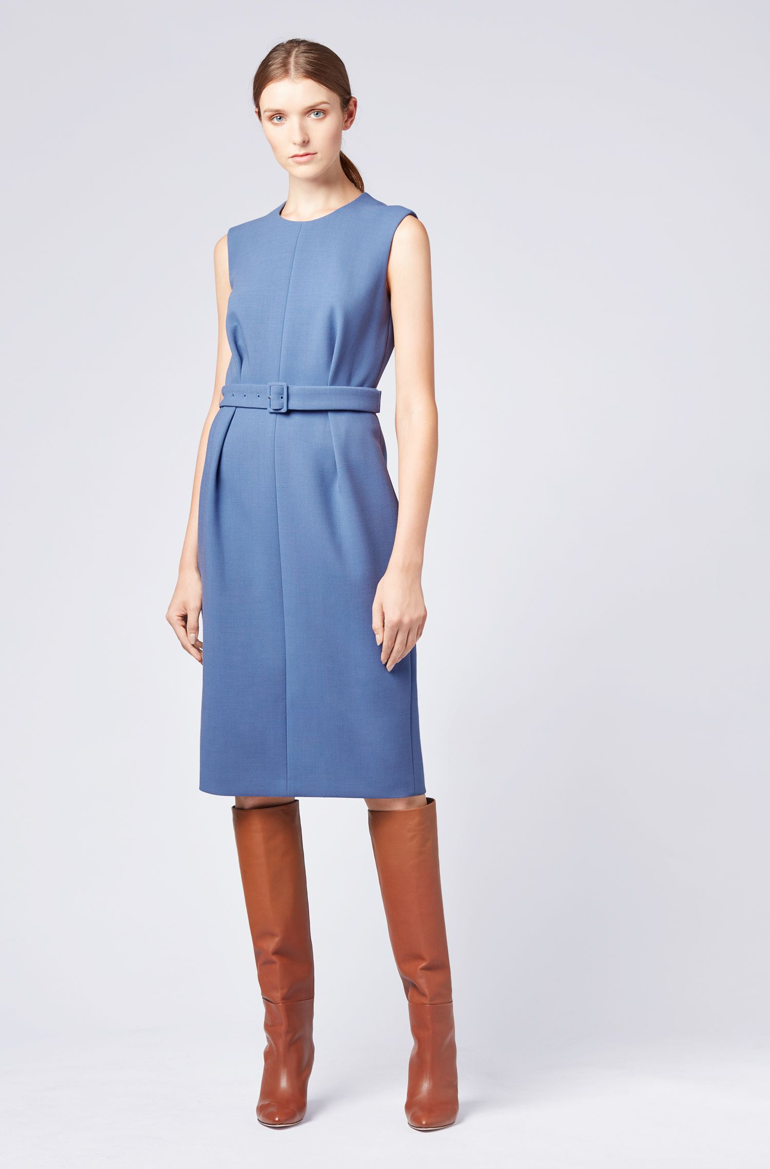 Sleeveless tailored dress in Italian stretch fabric with belt, Blue