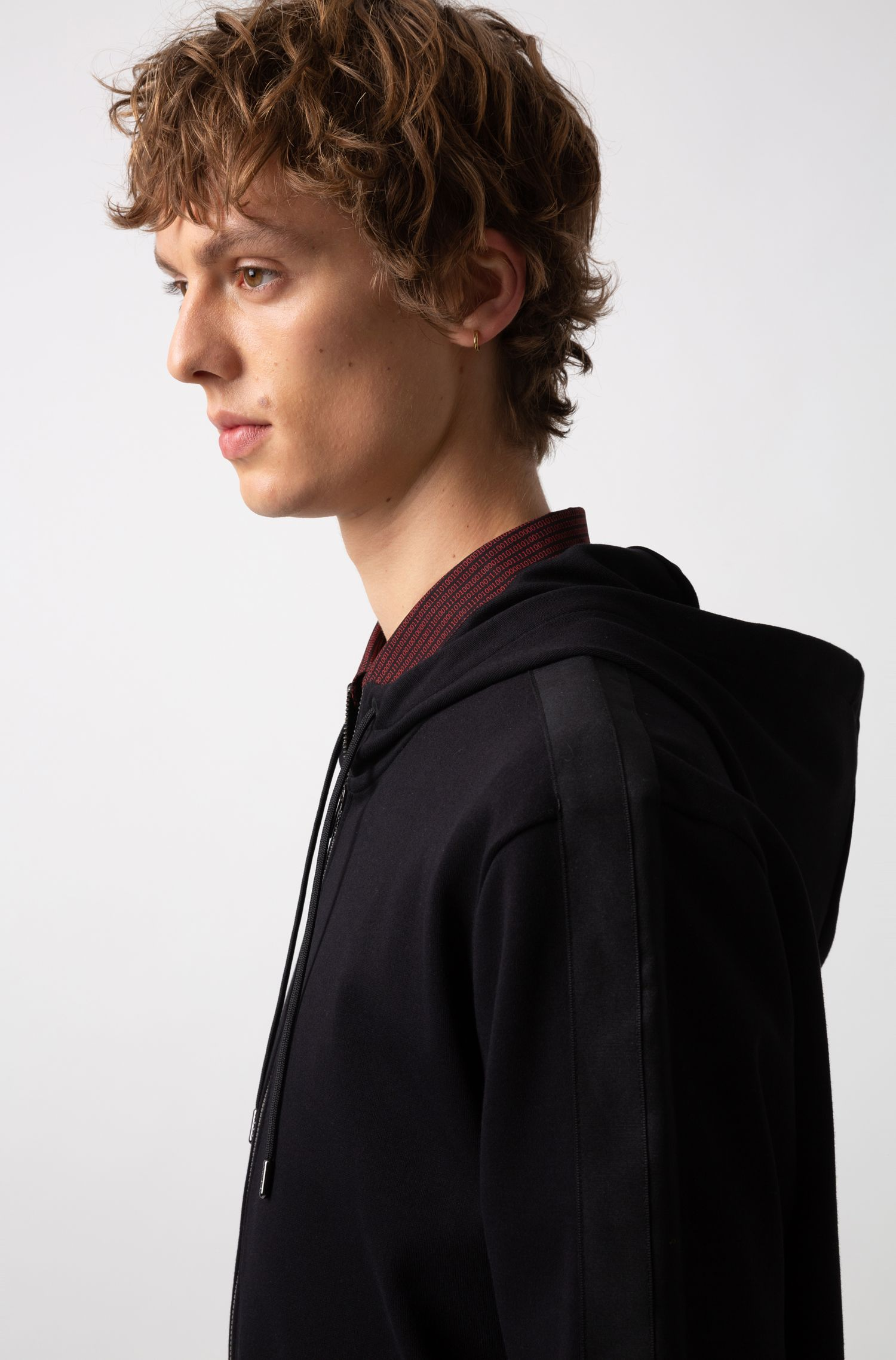 Oversized-fit hooded sweatshirt with tonal contrasts, Black