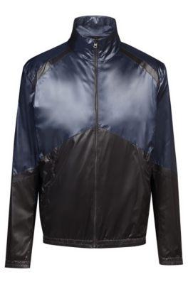 Slim-fit water-repellent jacket with colorblock panels, Dark Blue