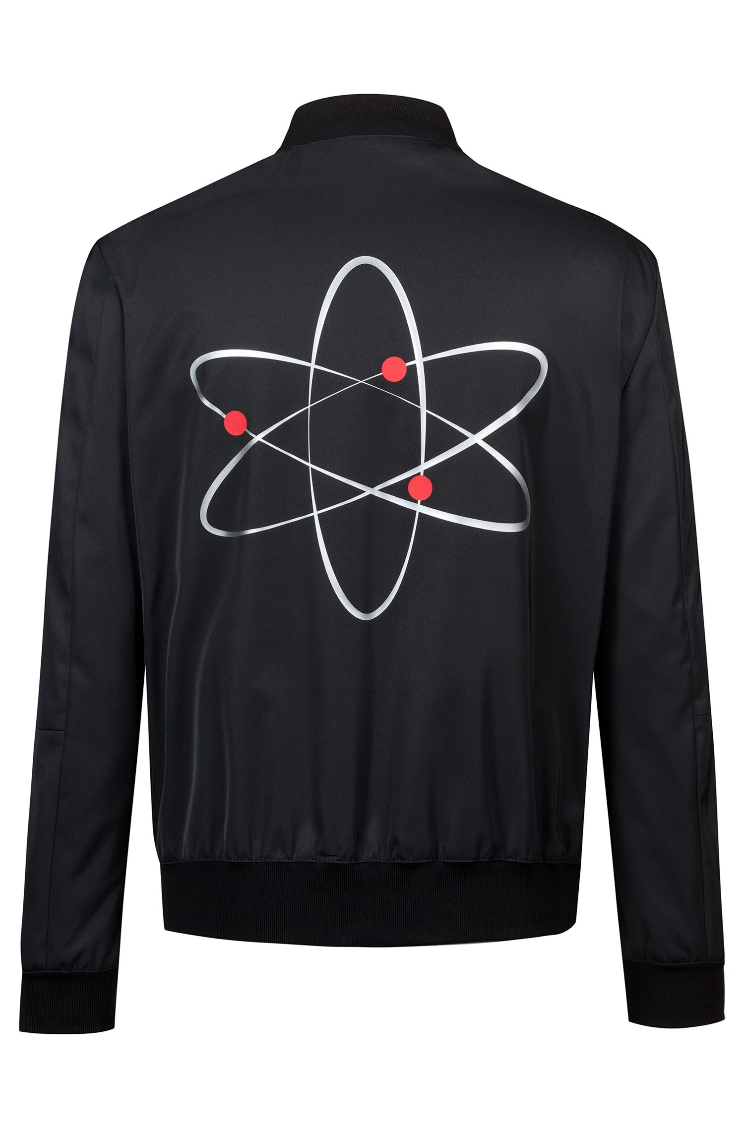 Slim-fit bomber jacket with atom-themed print, Black