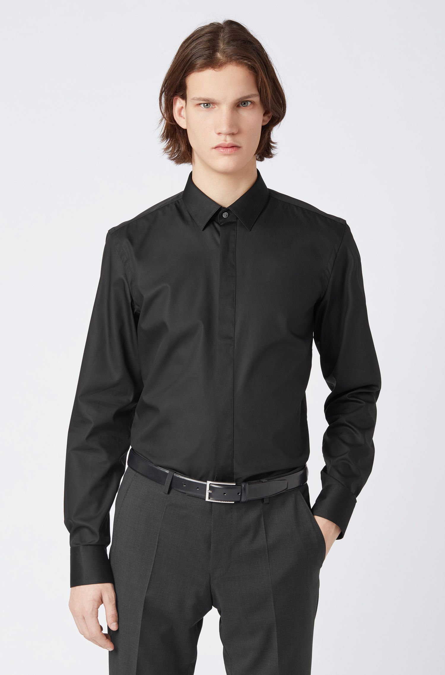 Easy-iron shirt in brilliant white with contrast details, Black