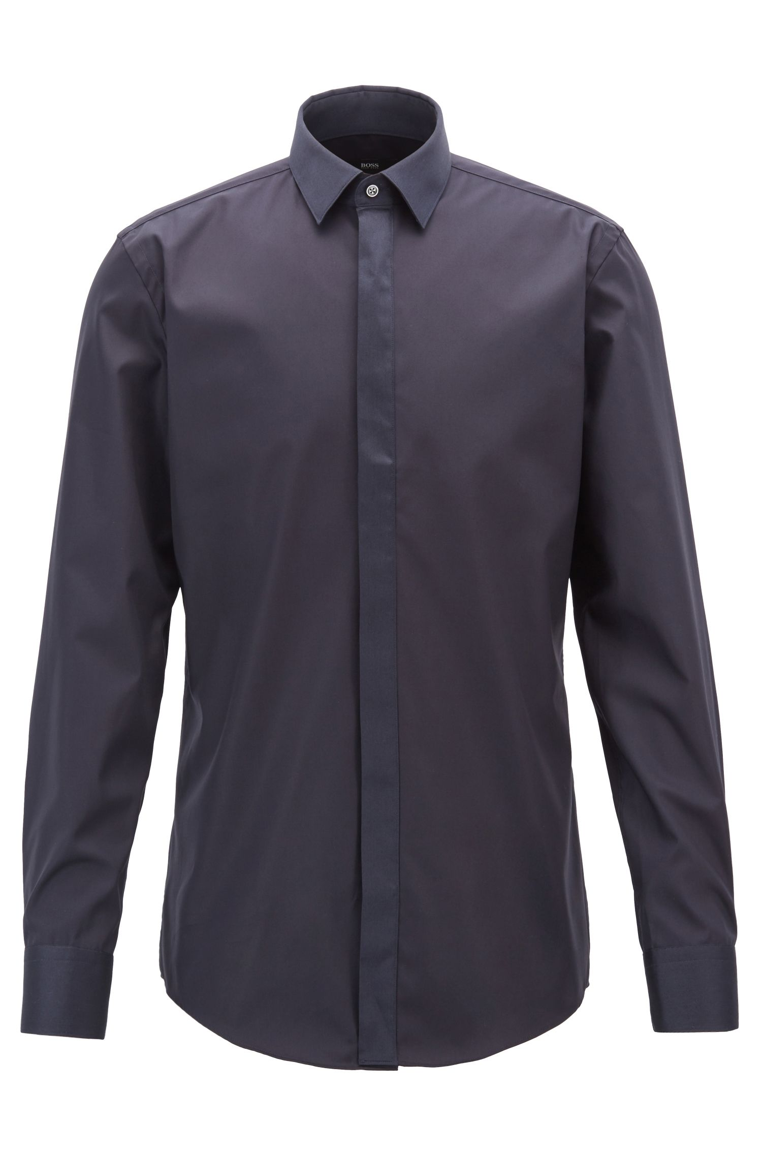 Easy-iron shirt in brilliant white with contrast details, Dark Blue