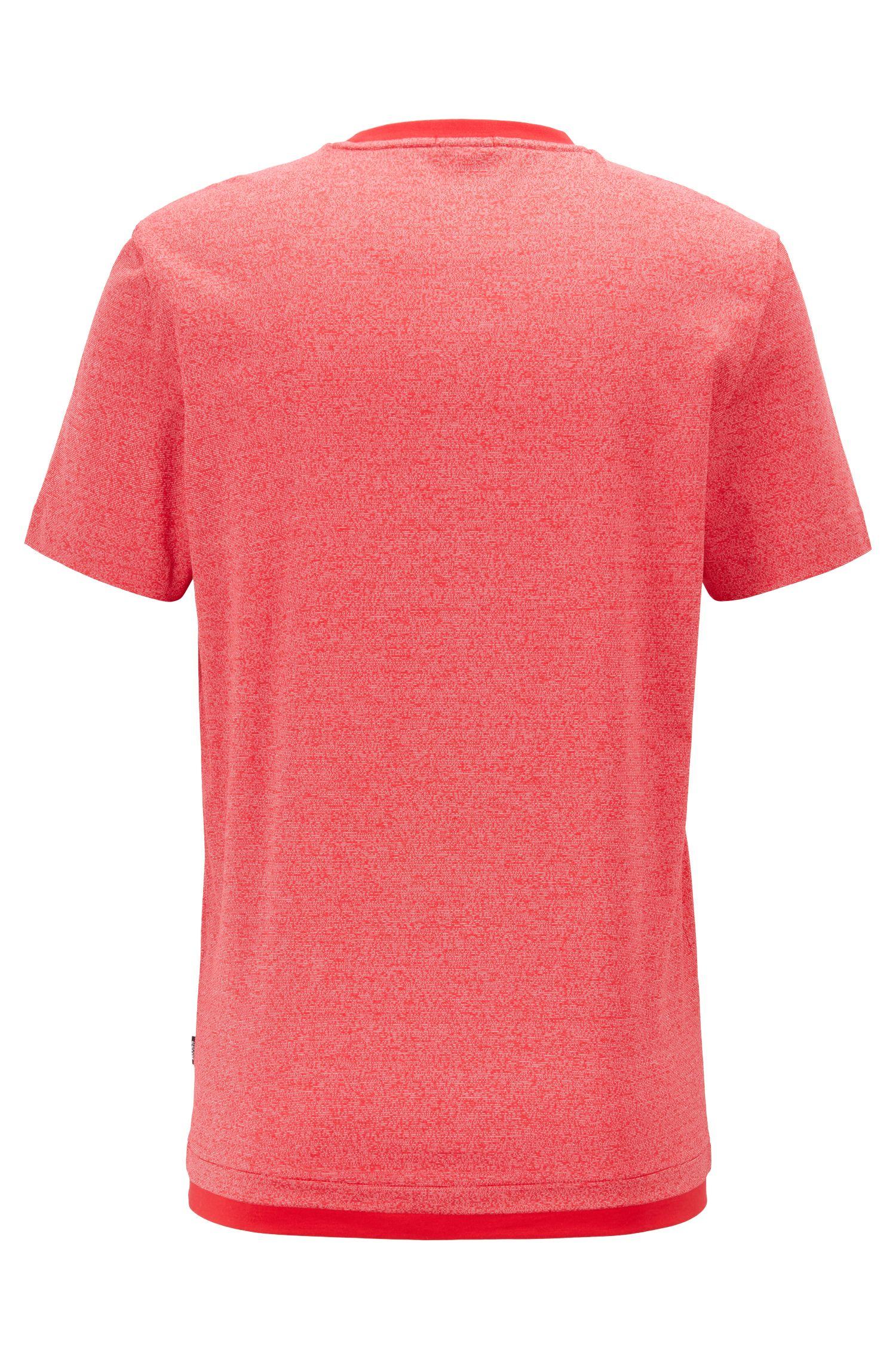 Slim-fit T-shirt in mercerized mouliné cotton, Red