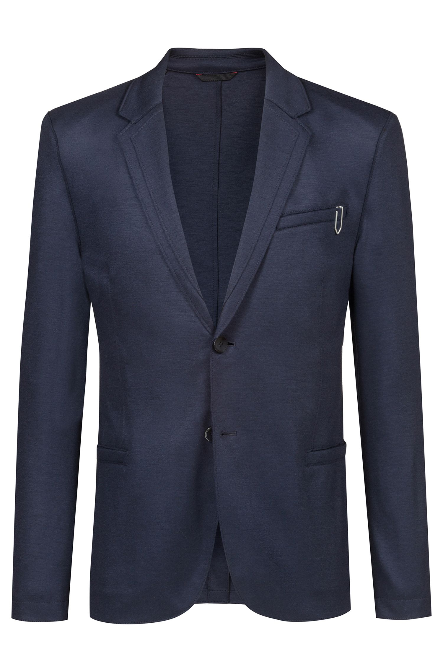 Extra-slim-fit jacket with layered notch lapels, Dark Blue