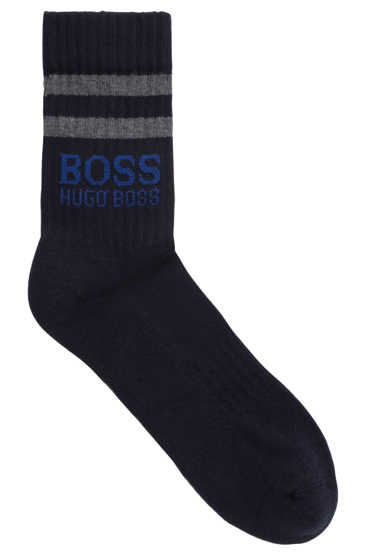 Sporty socks in a combed cotton blend, Dark Blue