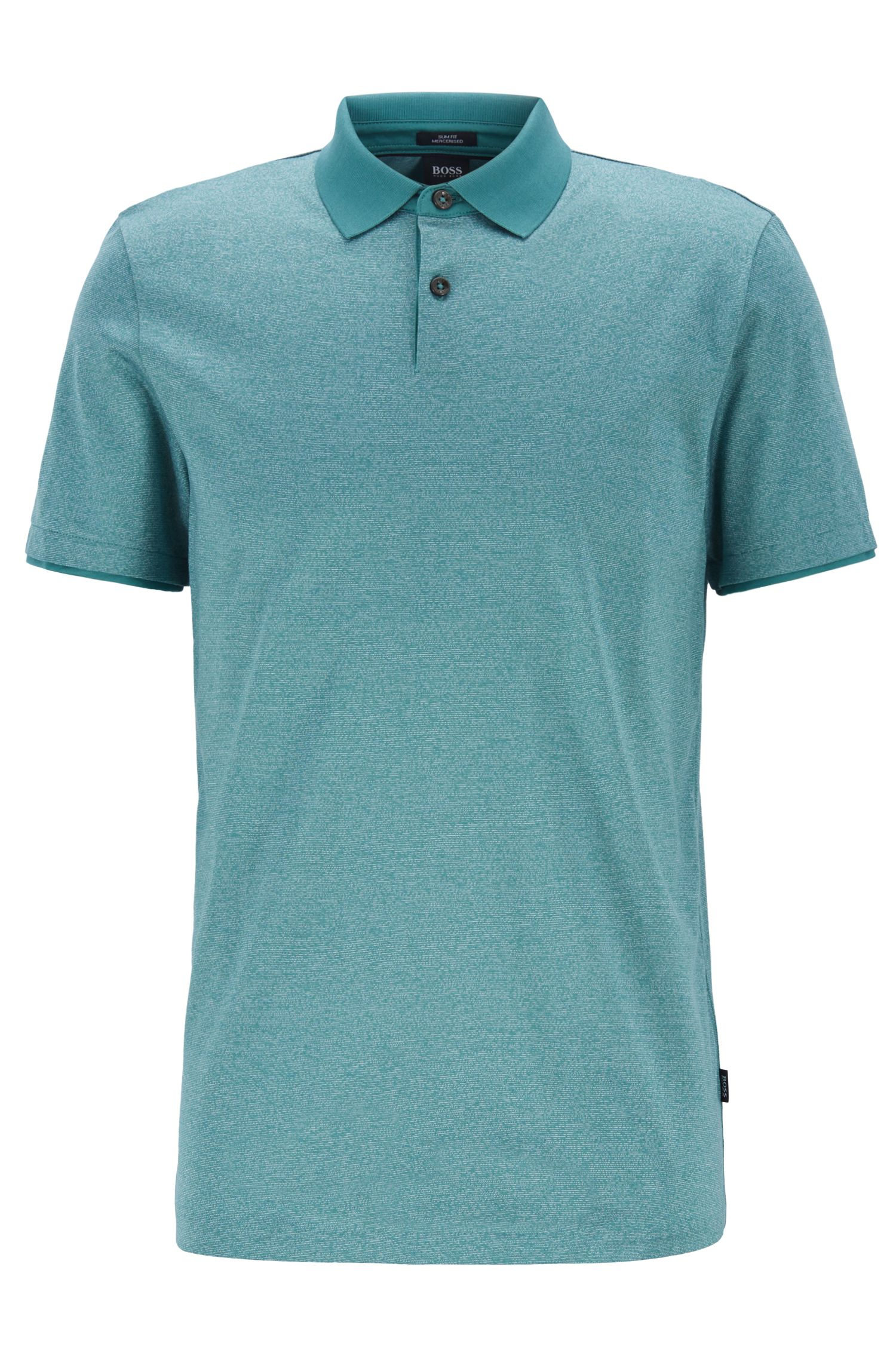 Slim-fit polo shirt in mouliné cotton with contrast collar, Open Green