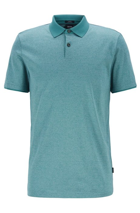 156872d7c BOSS - Slim-fit polo shirt in mouliné cotton with contrast collar