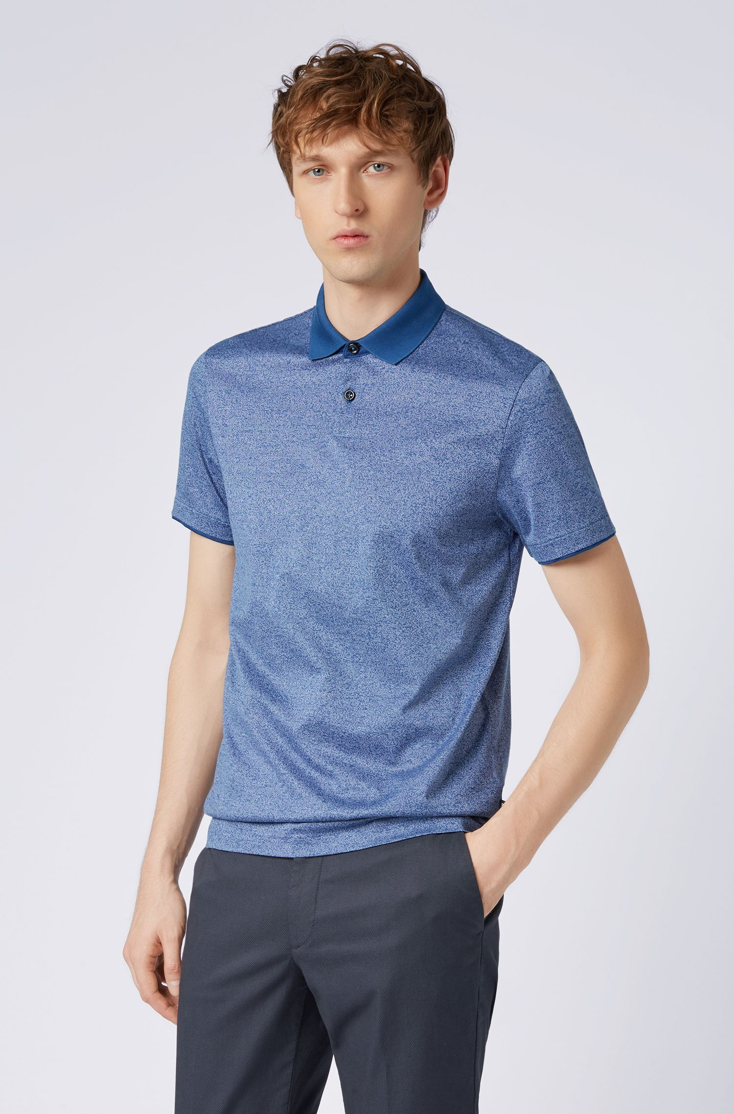 Slim-fit polo shirt in mouliné cotton with contrast collar, Dark Blue