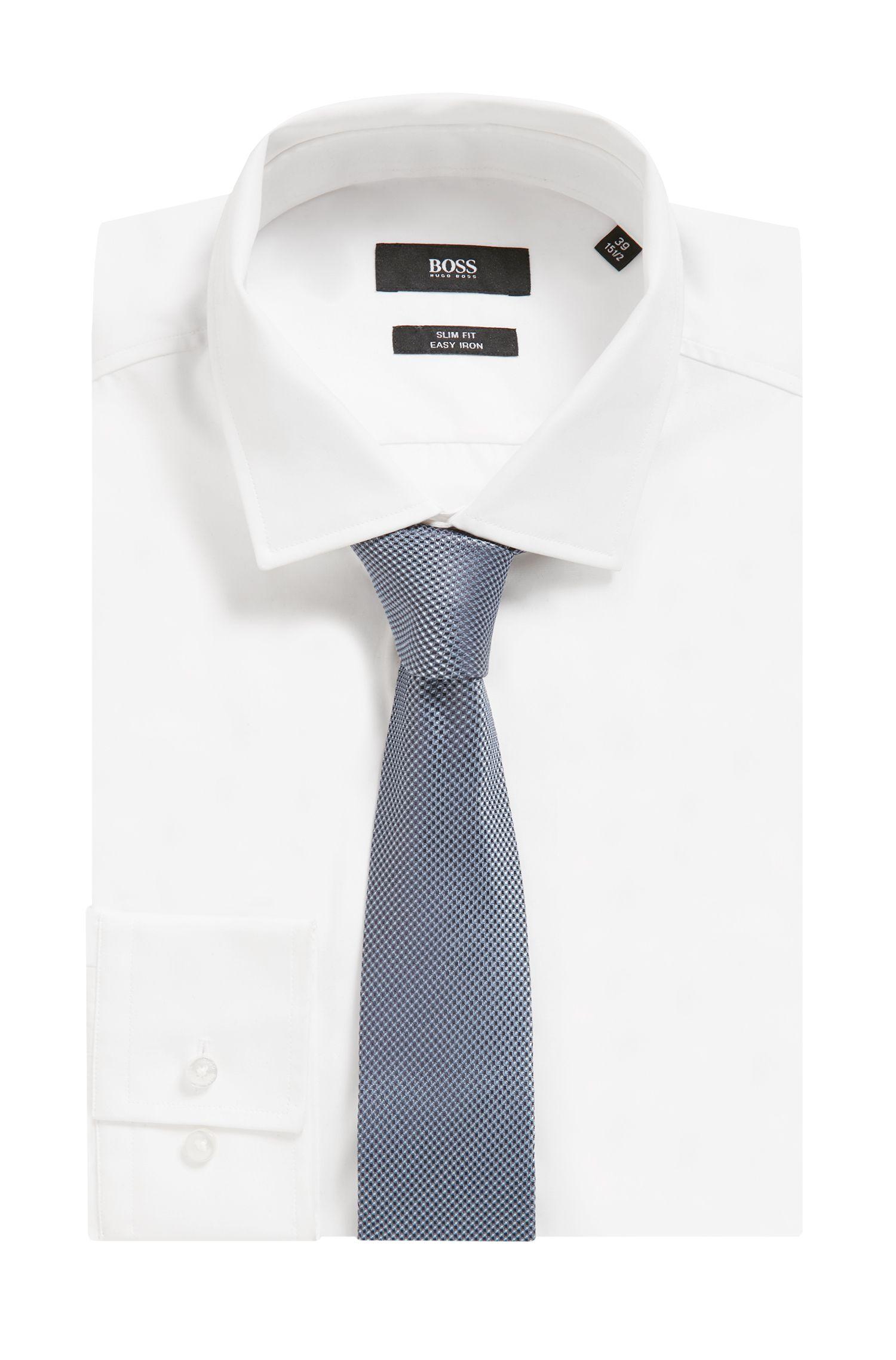 Micro-pattern tie in silk jacquard, Open Blue