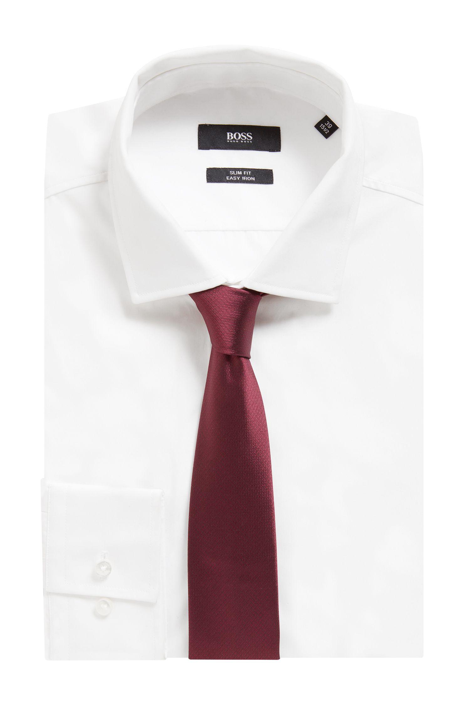 Handmade silk tie with jacquard micro pattern, Dark Red