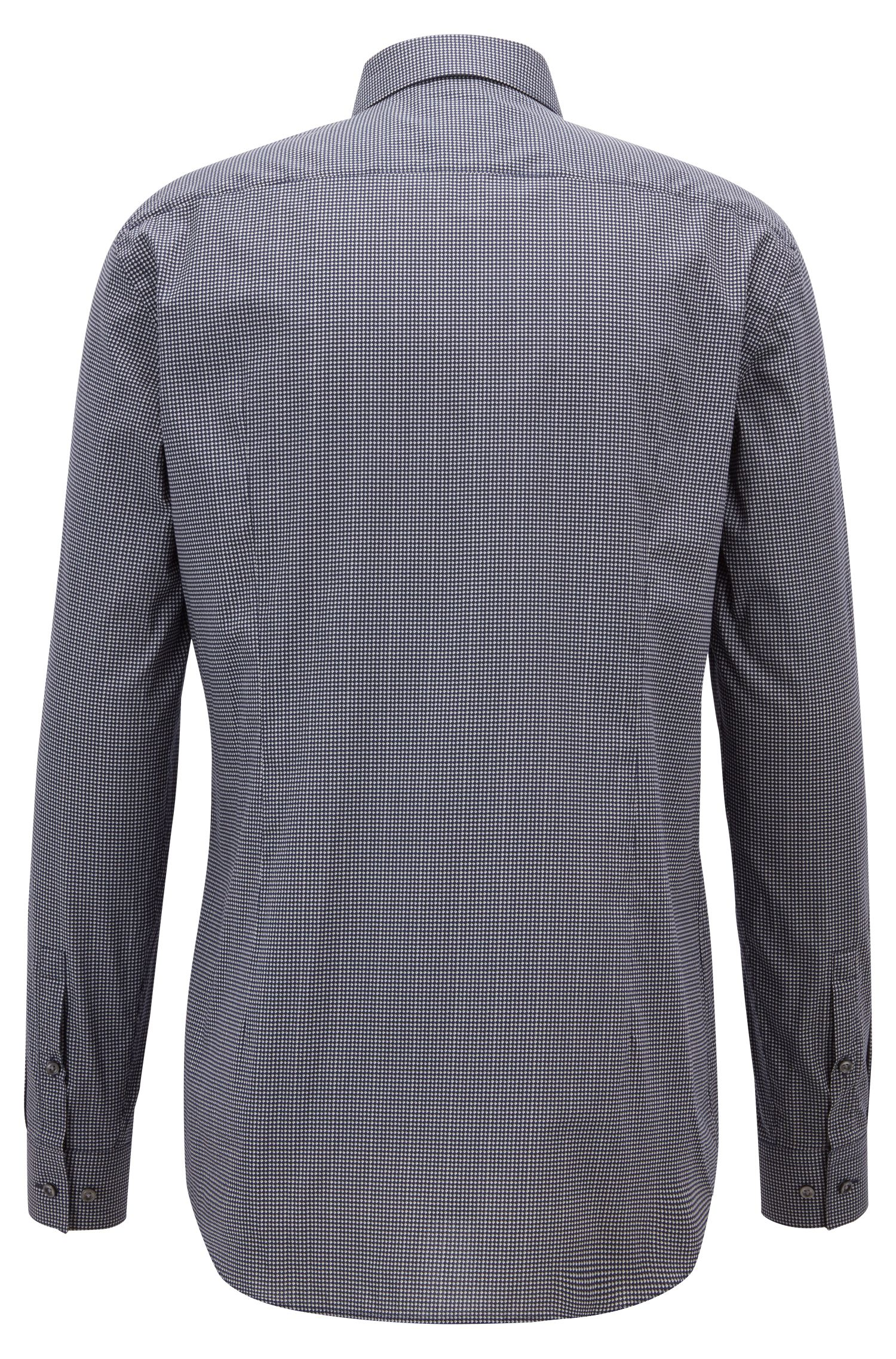 Slim-fit shirt in Italian cotton with rhombus print, Open Grey