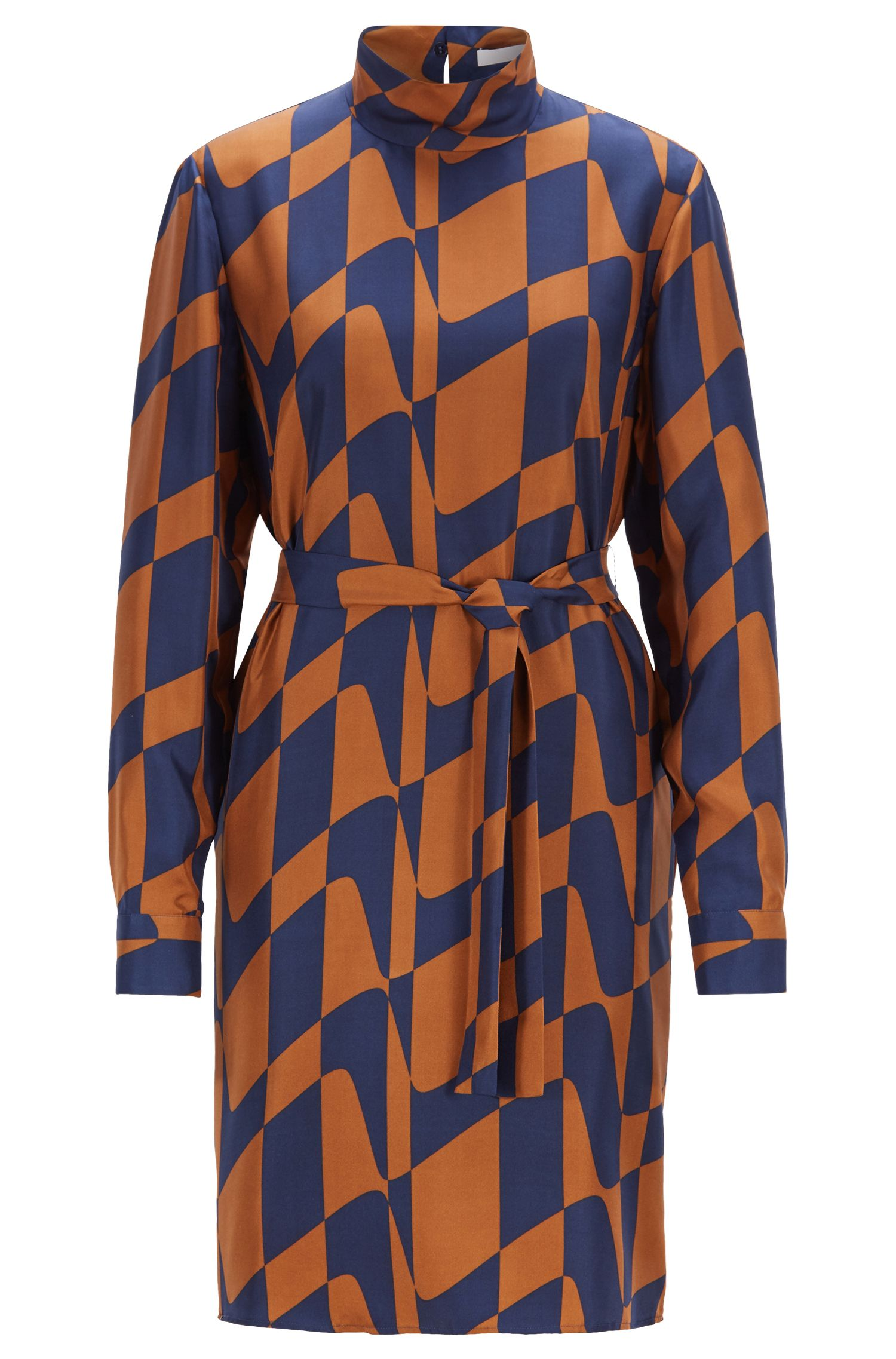Long-sleeved dress in silk twill with graphic print, Patterned