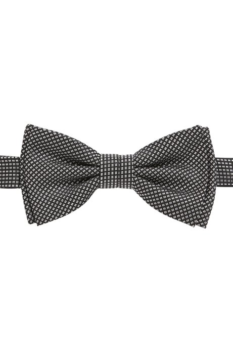 Micro-patterned bow tie and silk scarf gift set, Black